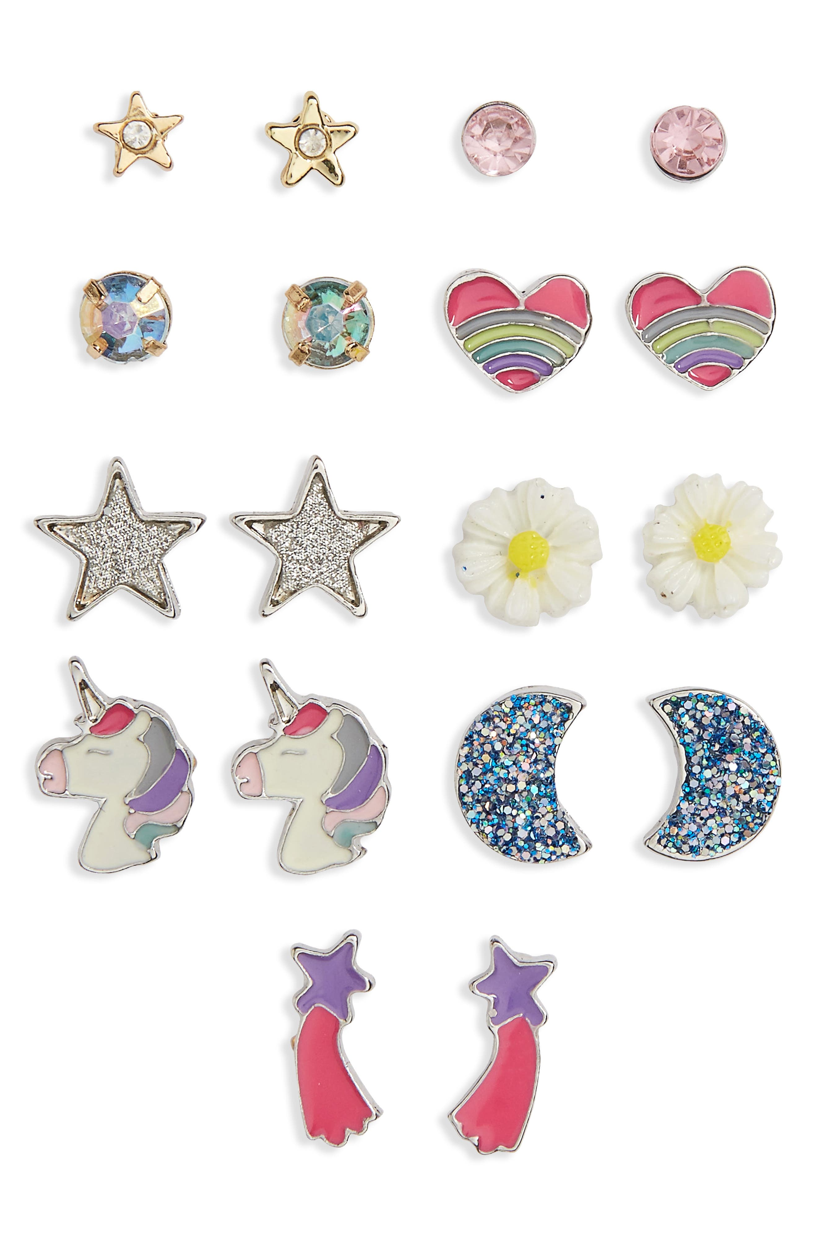 9-Pack Earring Set, Main, color, SILVER MULTI