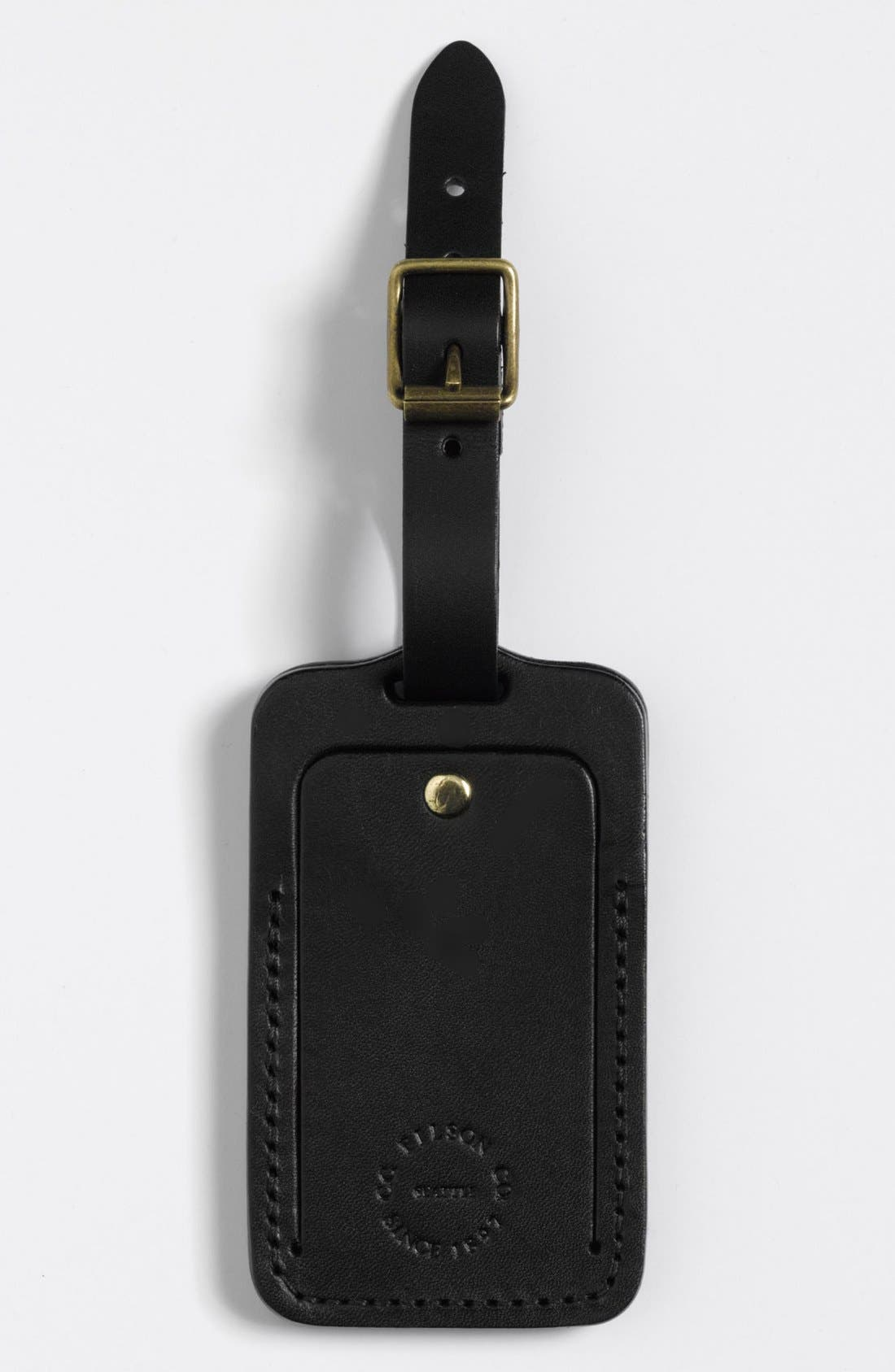 Leather Luggage Tag,                             Main thumbnail 1, color,                             001