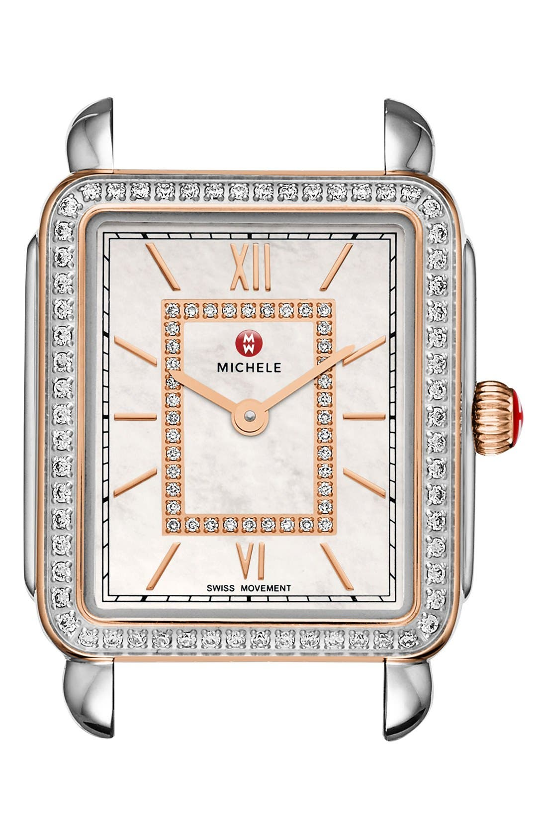 Deco II Mid Diamond Dial Watch Case, 26mm x 28mm,                             Main thumbnail 1, color,                             040