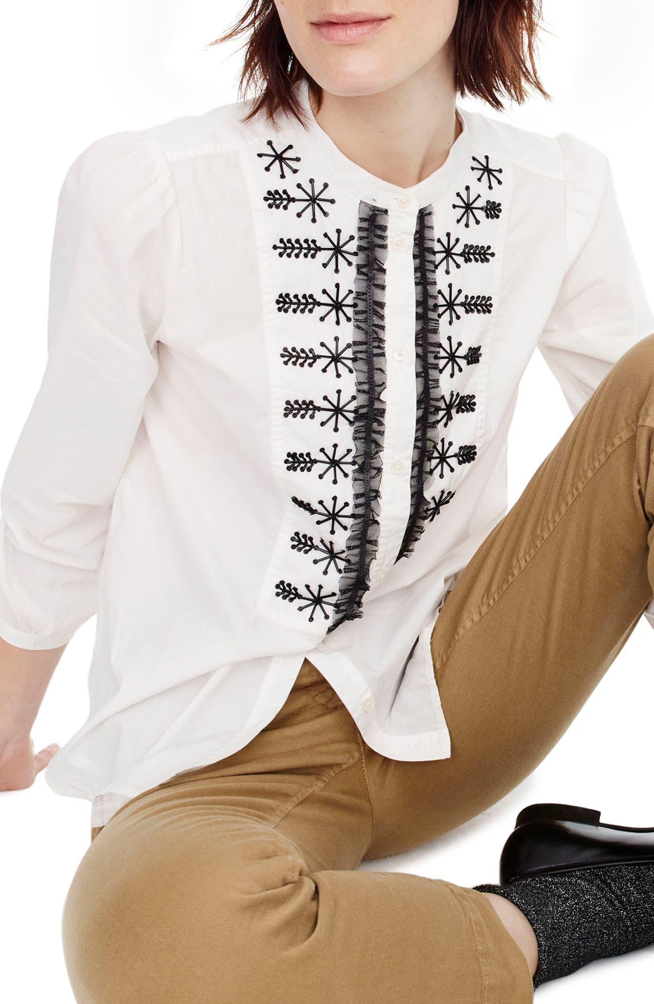 Embellished Button-Up Poplin Shirt,                             Main thumbnail 1, color,