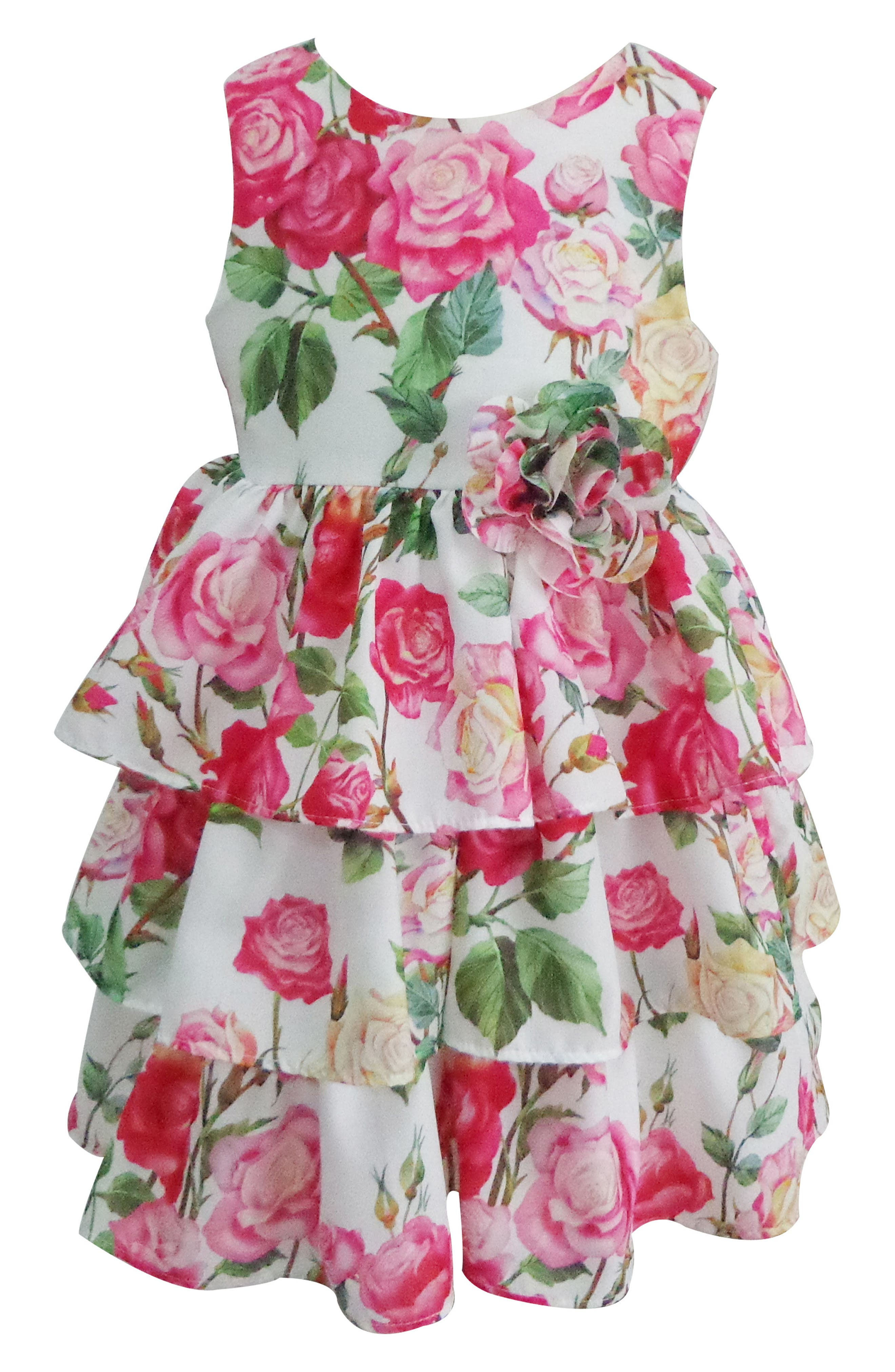 Floral Tiered Dress,                         Main,                         color, PINK