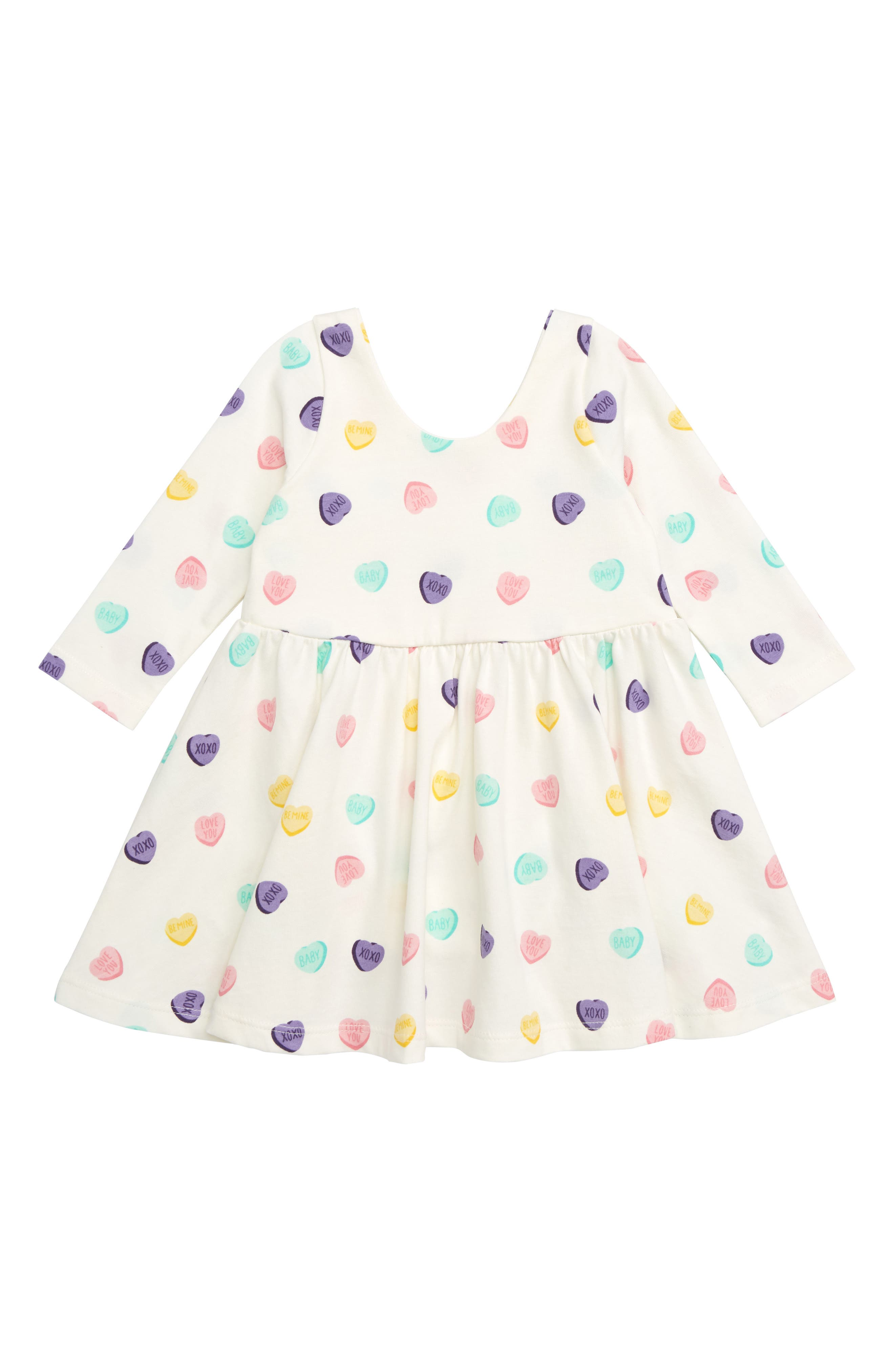 Let's Dance Sweetheart Organic Stretch Cotton Dress, Main, color, SWEET HEARTS