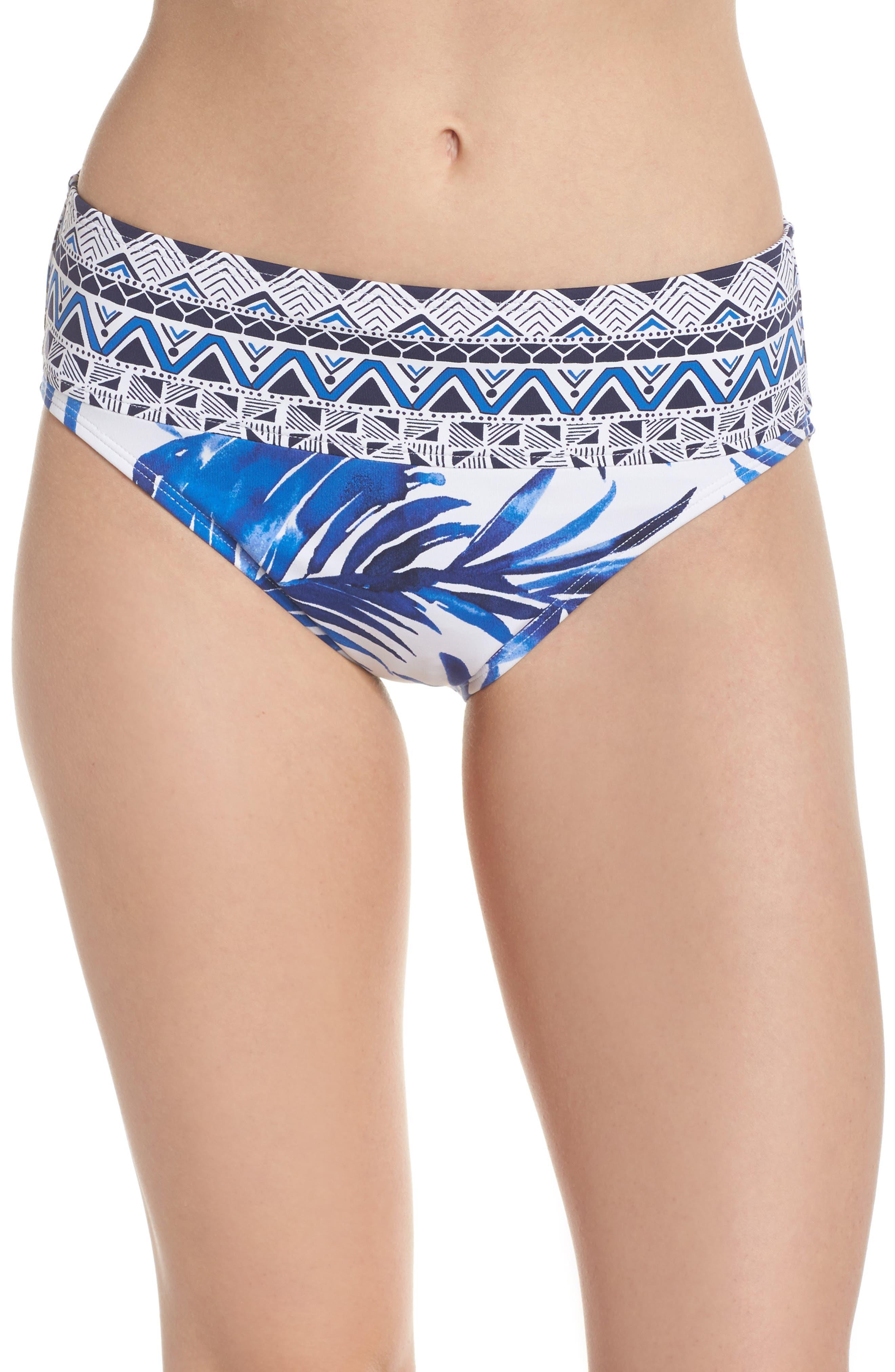 Fuller Fronds High Waist Bikini Bottoms,                         Main,                         color, WHITE