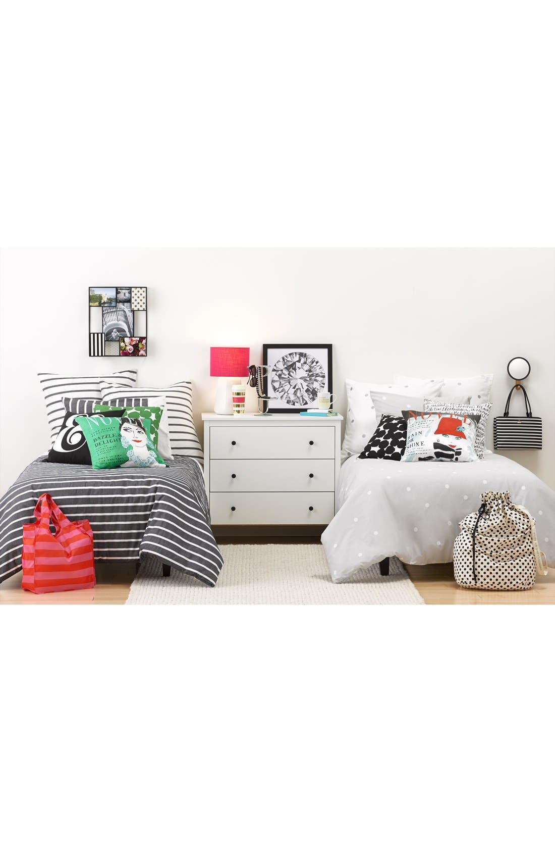 polka dot duvet cover & shams,                             Alternate thumbnail 3, color,