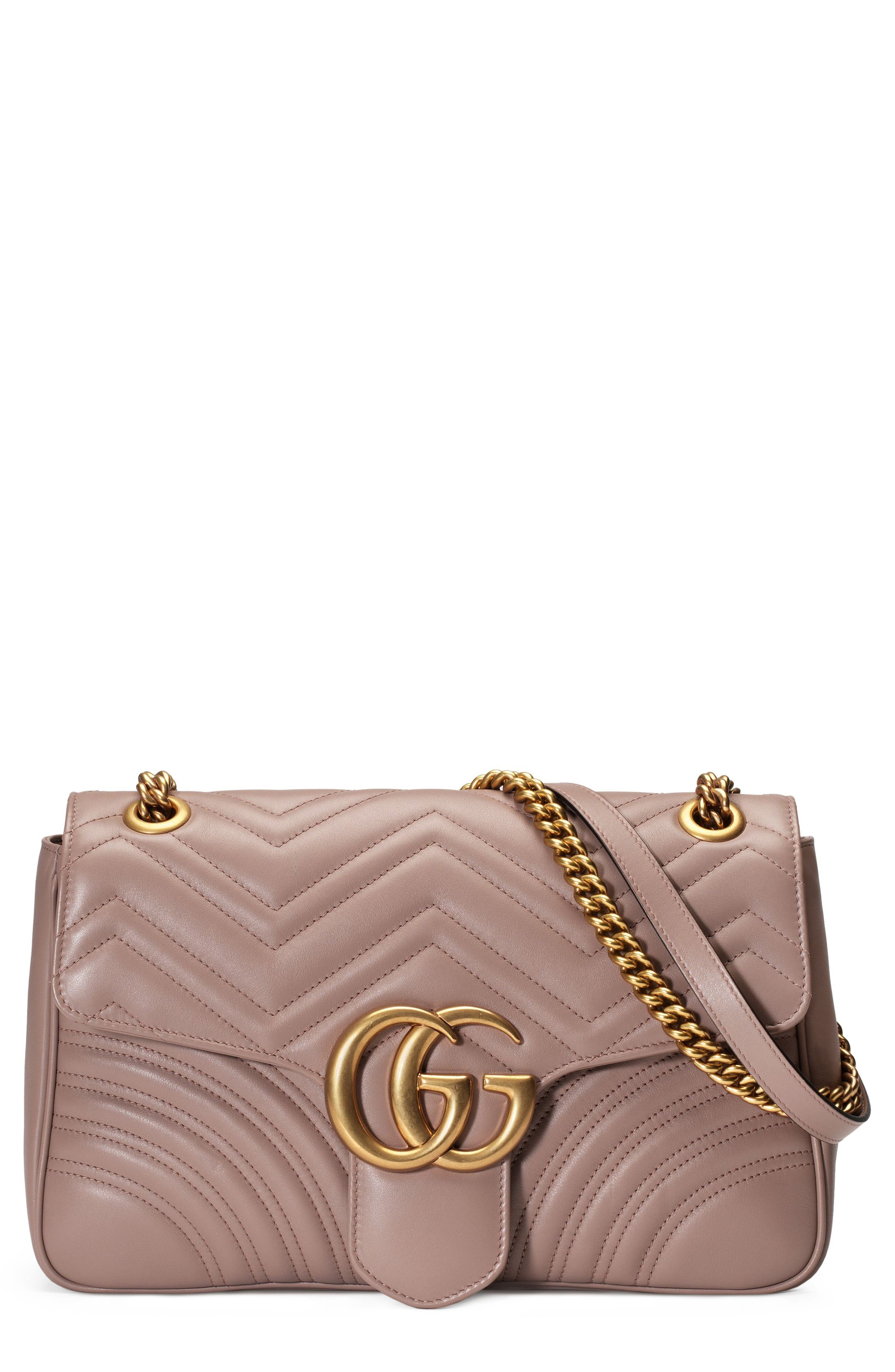Medium GG Marmont 2.0 Matelassé Leather Shoulder Bag,                             Main thumbnail 1, color,                             PORCELAIN ROSE/ PORCELAIN ROSE