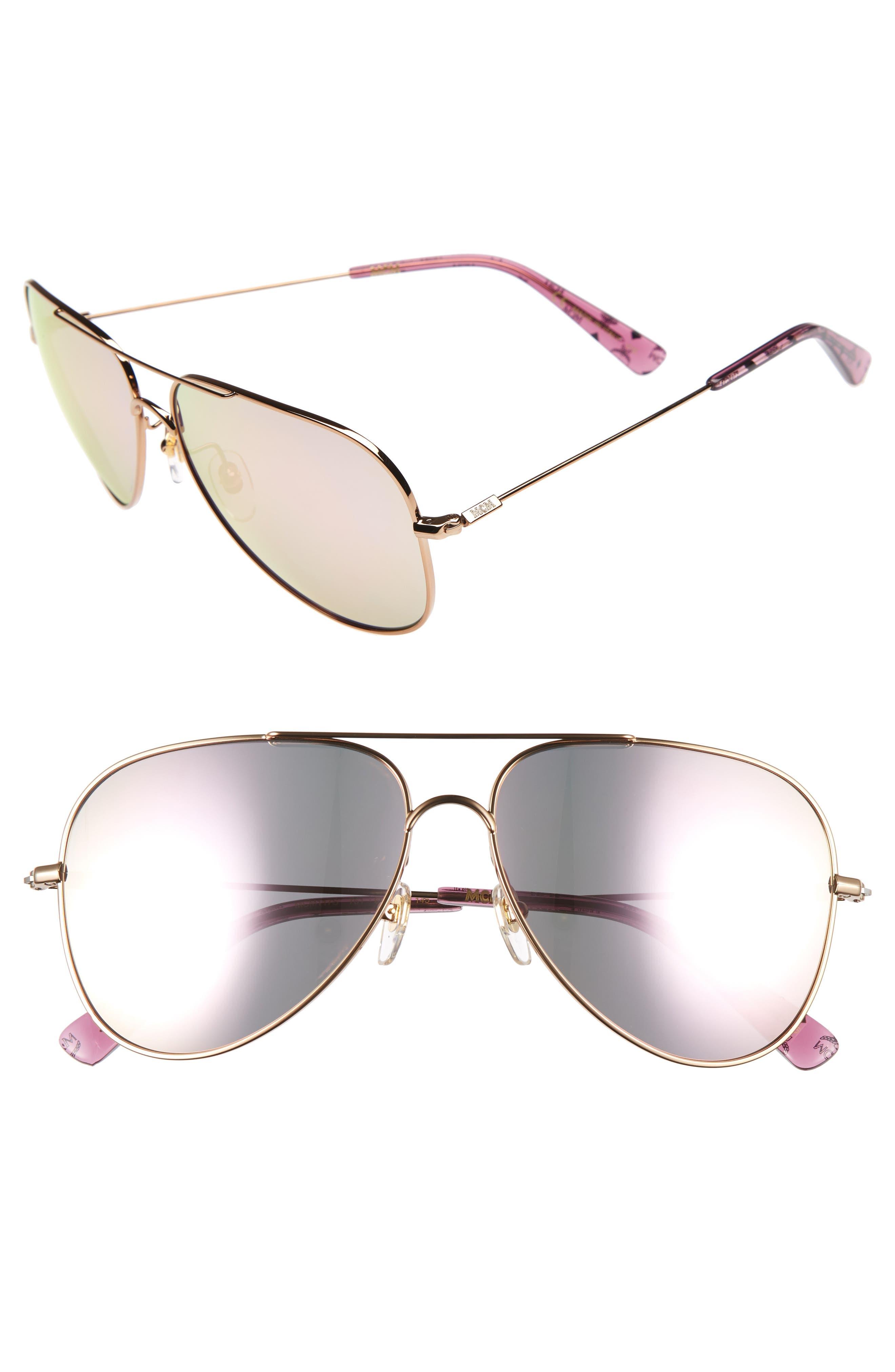 60mm Aviator Sunglasses,                             Alternate thumbnail 2, color,                             AMBER