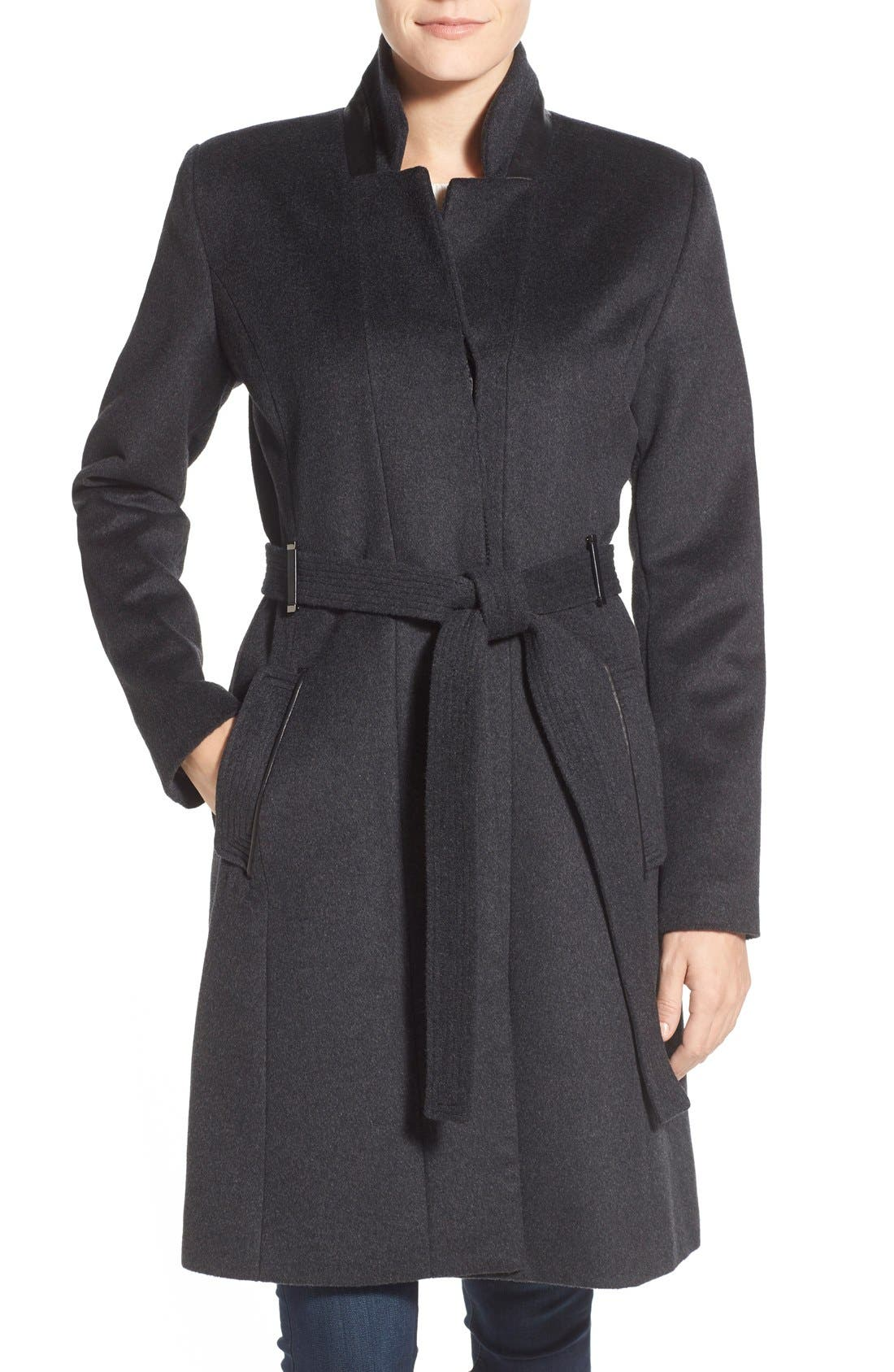 Badgley Mischka 'Ivana' Long Belted Inverted Collar Coat, Main, color, 020