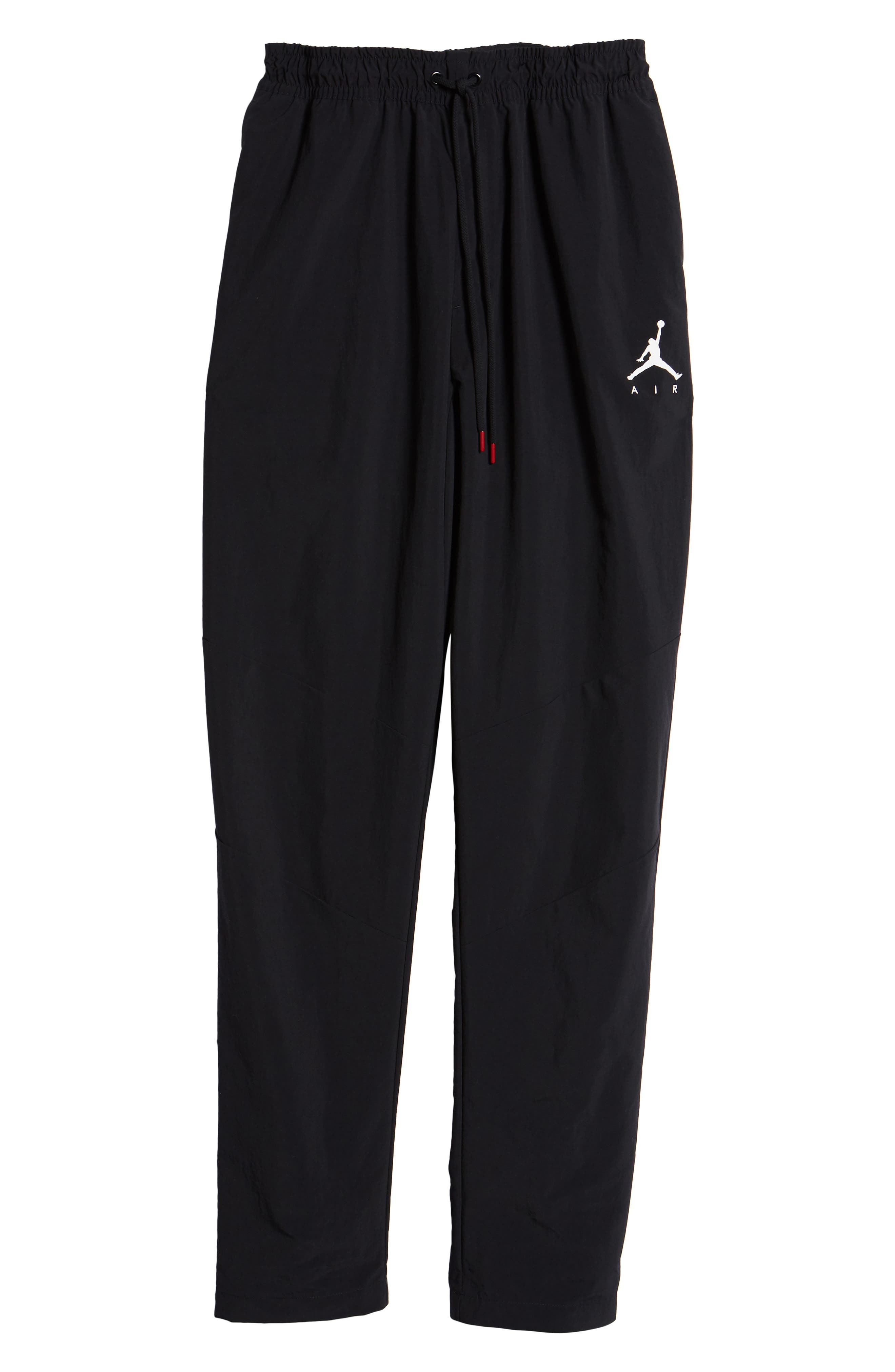 Jordan Jumpman Woven Pants,                             Alternate thumbnail 6, color,                             BLACK/ WHITE