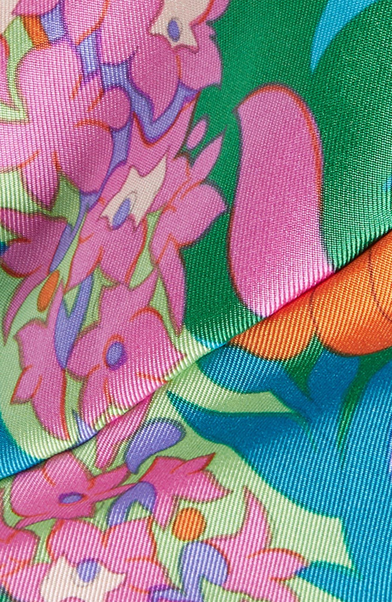 MANTERO,                             Twiggy Print Silk Head Wrap,                             Alternate thumbnail 2, color,                             TURQUOISE