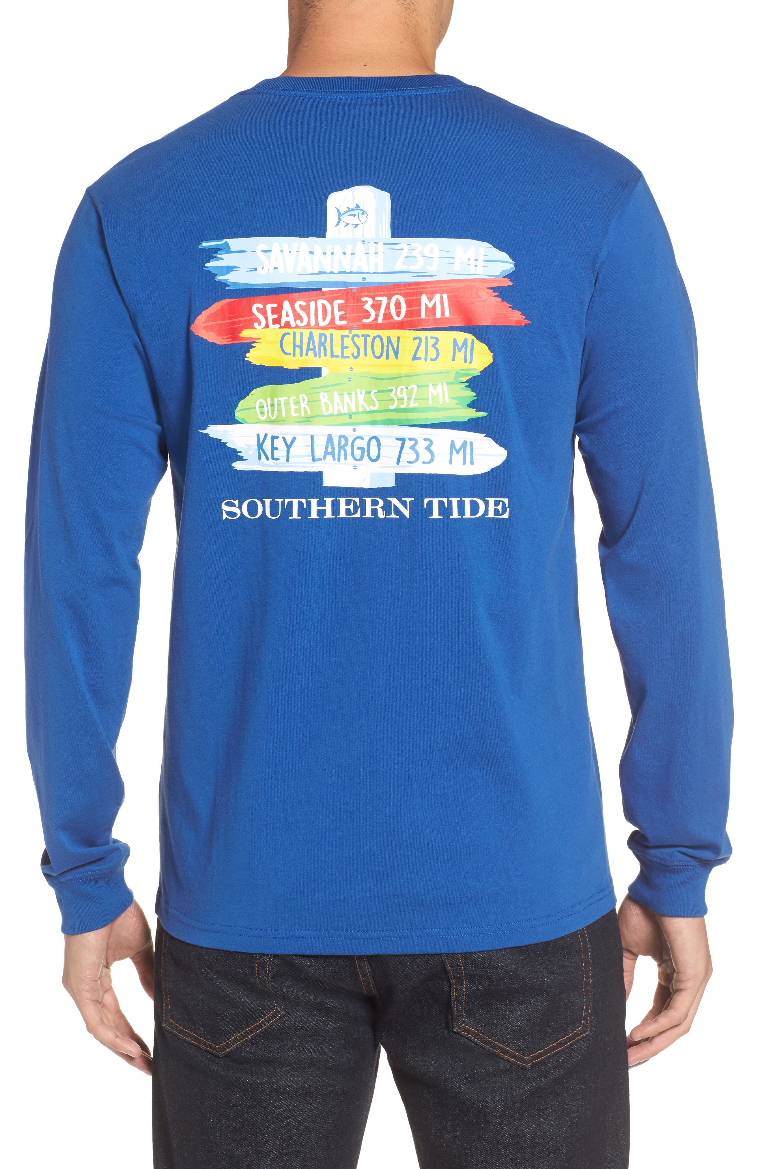 Beach Signs Graphic Long Sleeve T-Shirt,                             Alternate thumbnail 2, color,