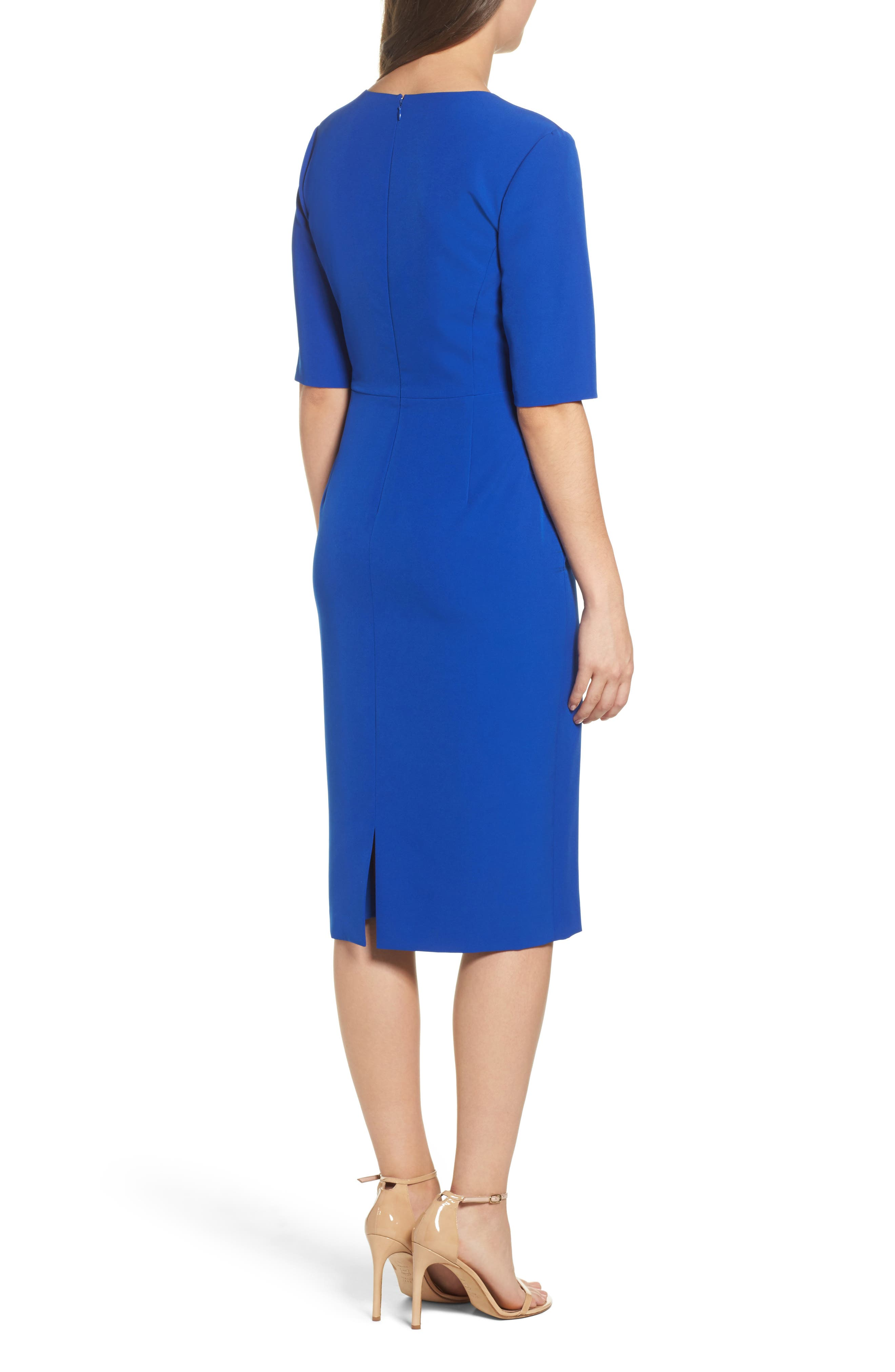 Ruffle Crepe Sheath Dress,                             Alternate thumbnail 2, color,                             401