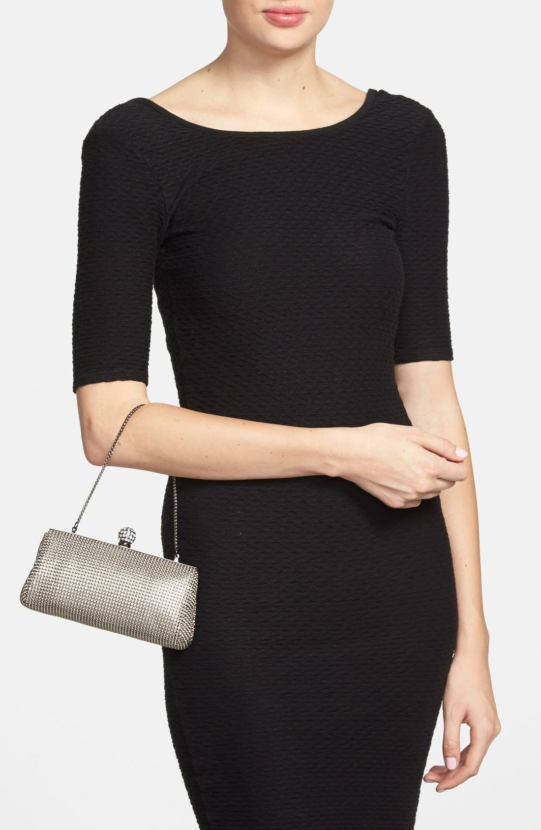 WHITING & DAVIS,                             'Crystal' Mesh Clutch,                             Alternate thumbnail 3, color,                             PEWTER