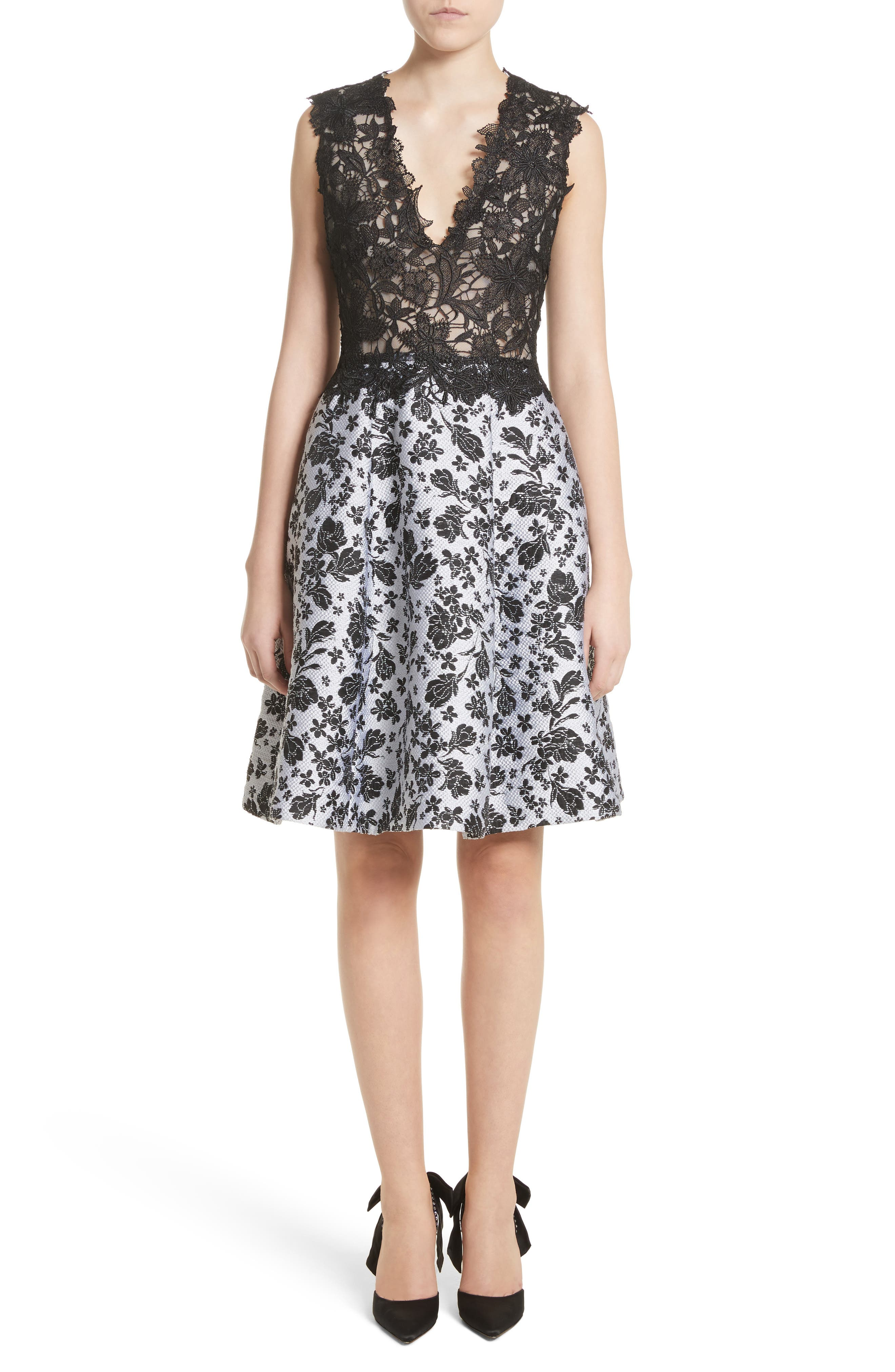 Mixed Media V-Neck Dress,                         Main,                         color, 001