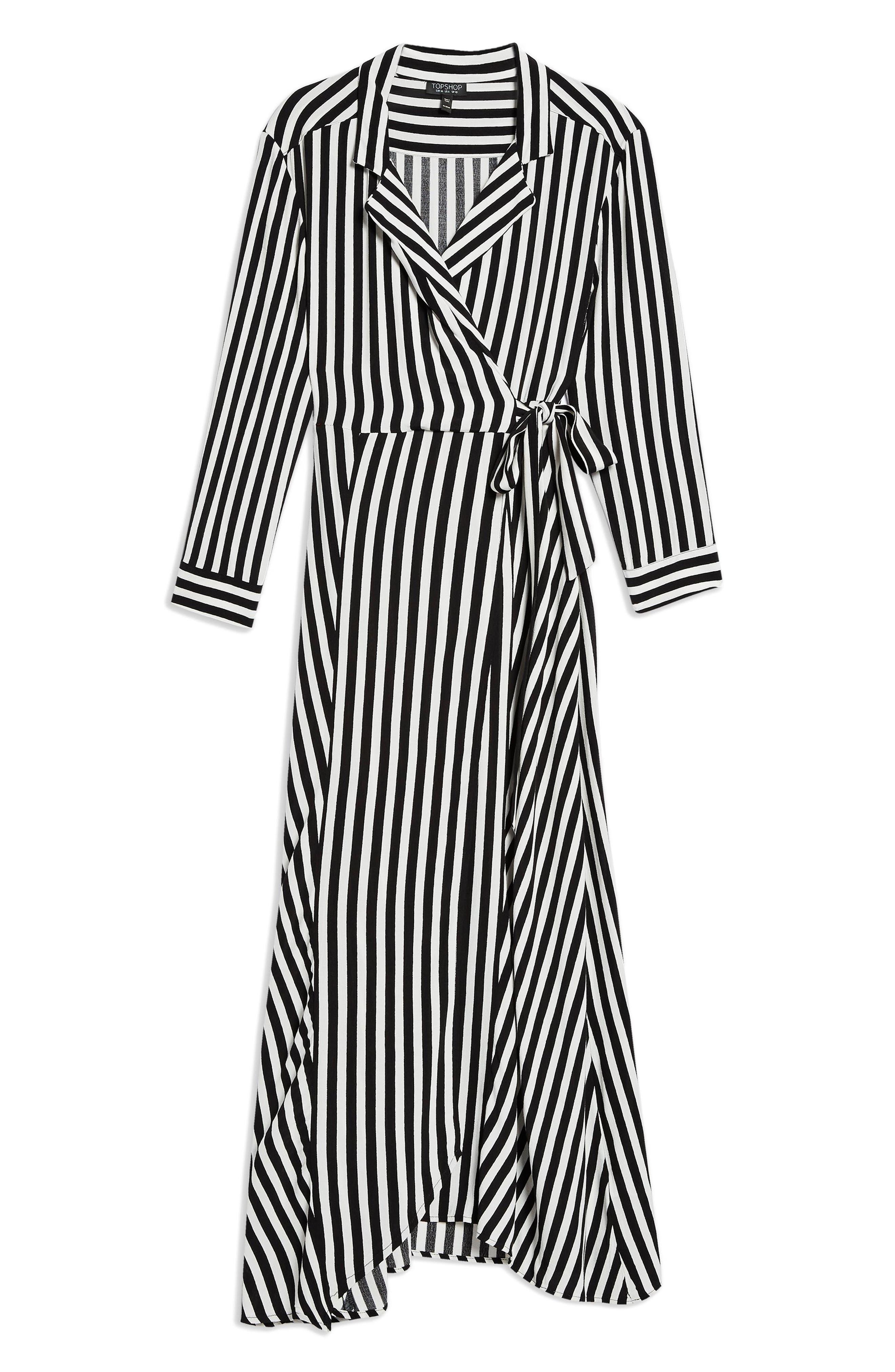 Stripe Wrap Midi Shirtdress,                             Alternate thumbnail 4, color,                             BLACK MULTI