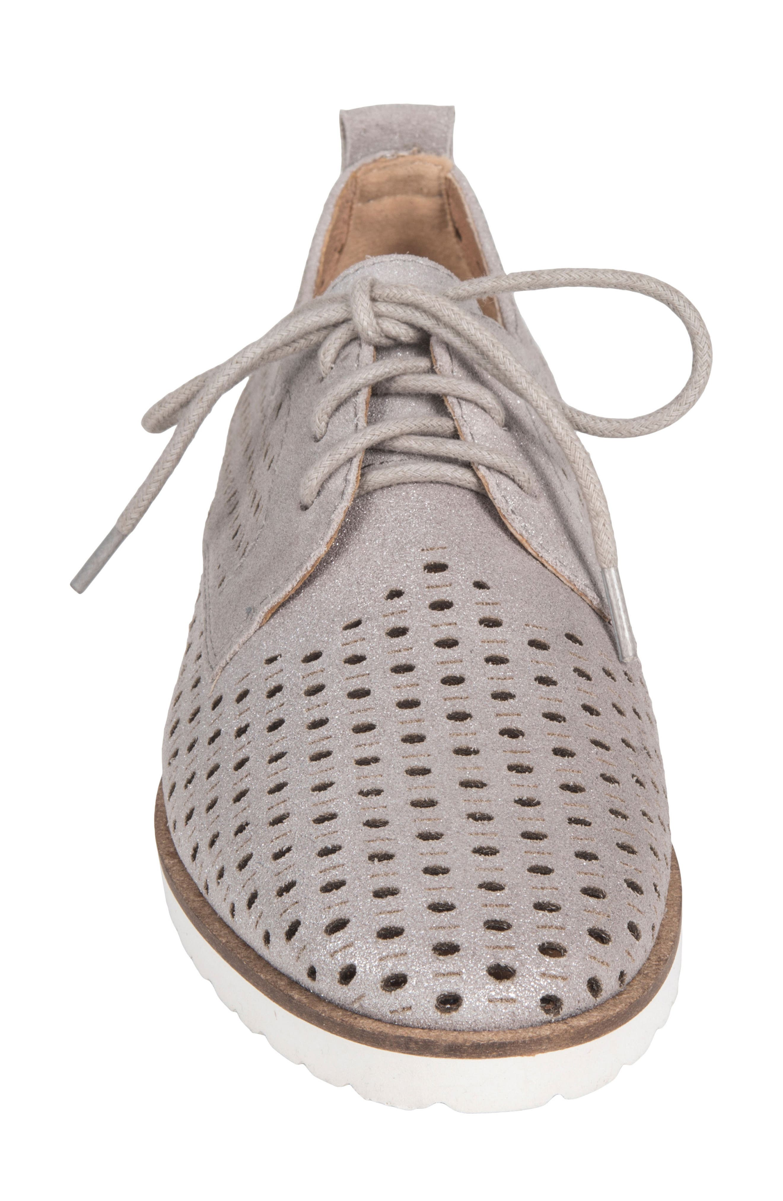 Camino Perforated Sneaker,                             Alternate thumbnail 4, color,                             SILVER METALLIC SUEDE