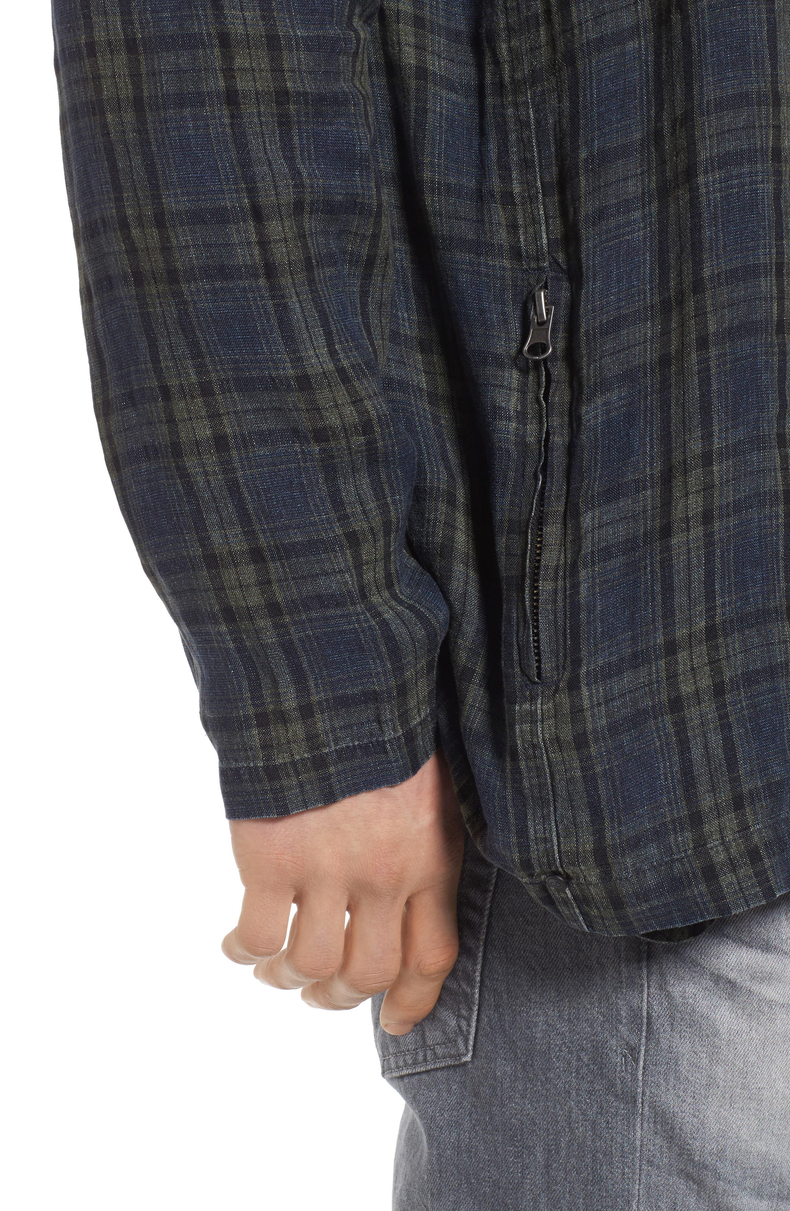 Plaid Zip Front Linen Shirt Jacket,                             Alternate thumbnail 4, color,                             315