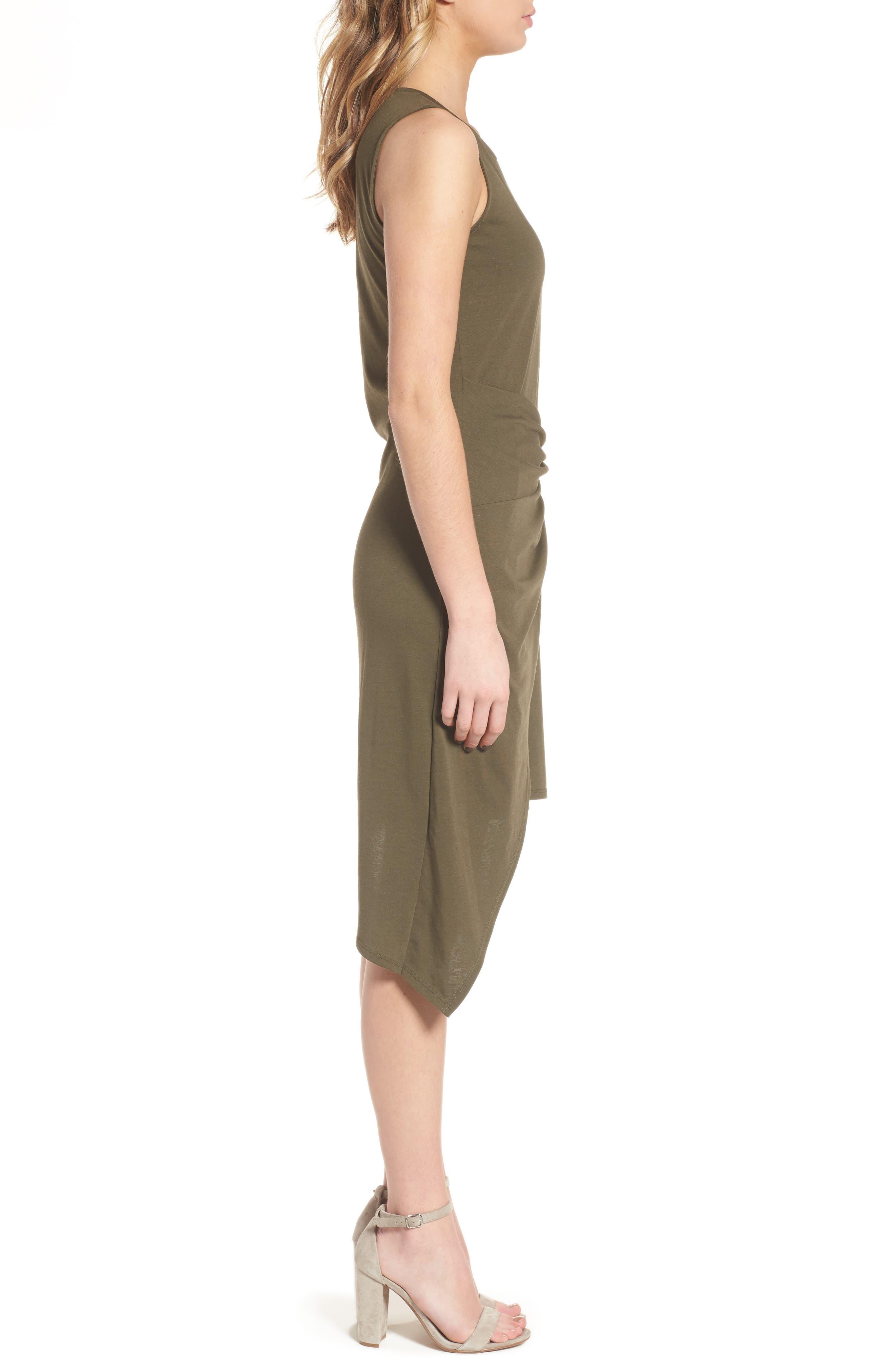 Twist Front Dress,                             Alternate thumbnail 3, color,                             OLIVE SARMA