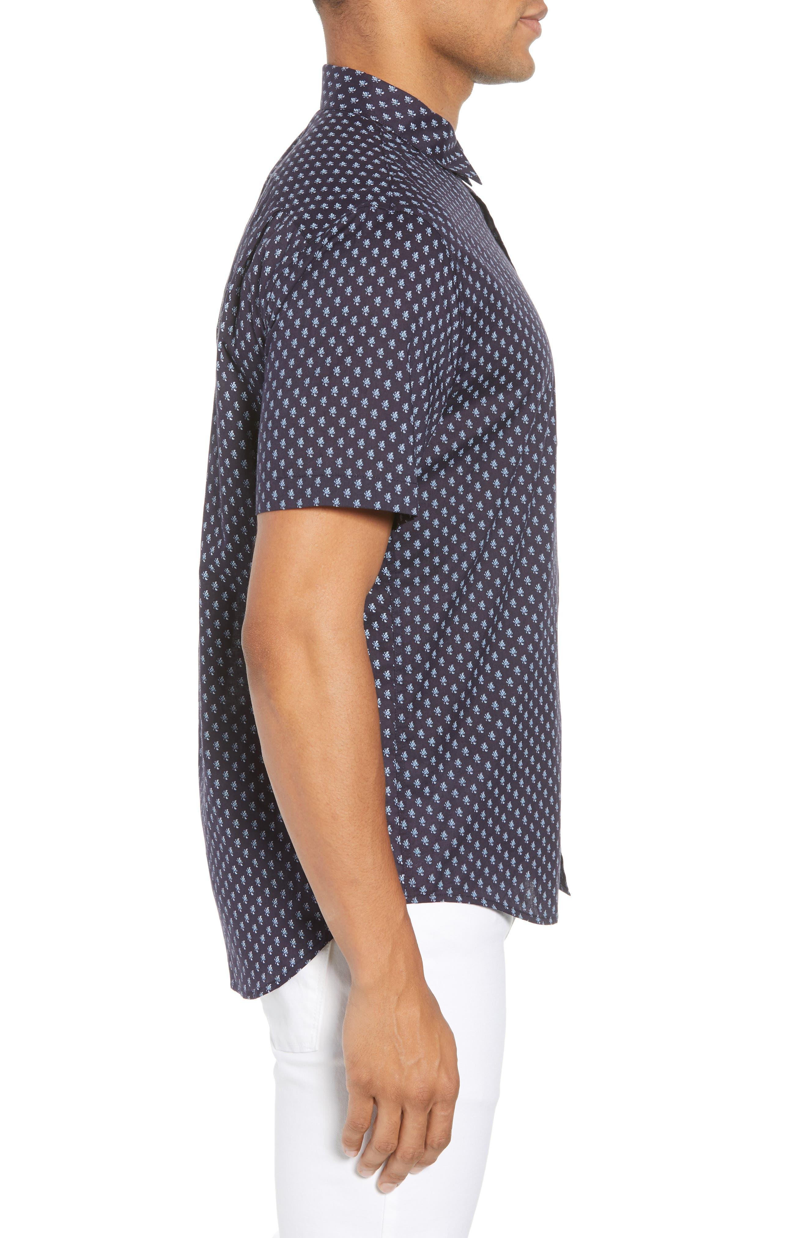 Classic Fit Print Short Sleeve Sport Shirt,                             Alternate thumbnail 3, color,                             NEW COASTAL