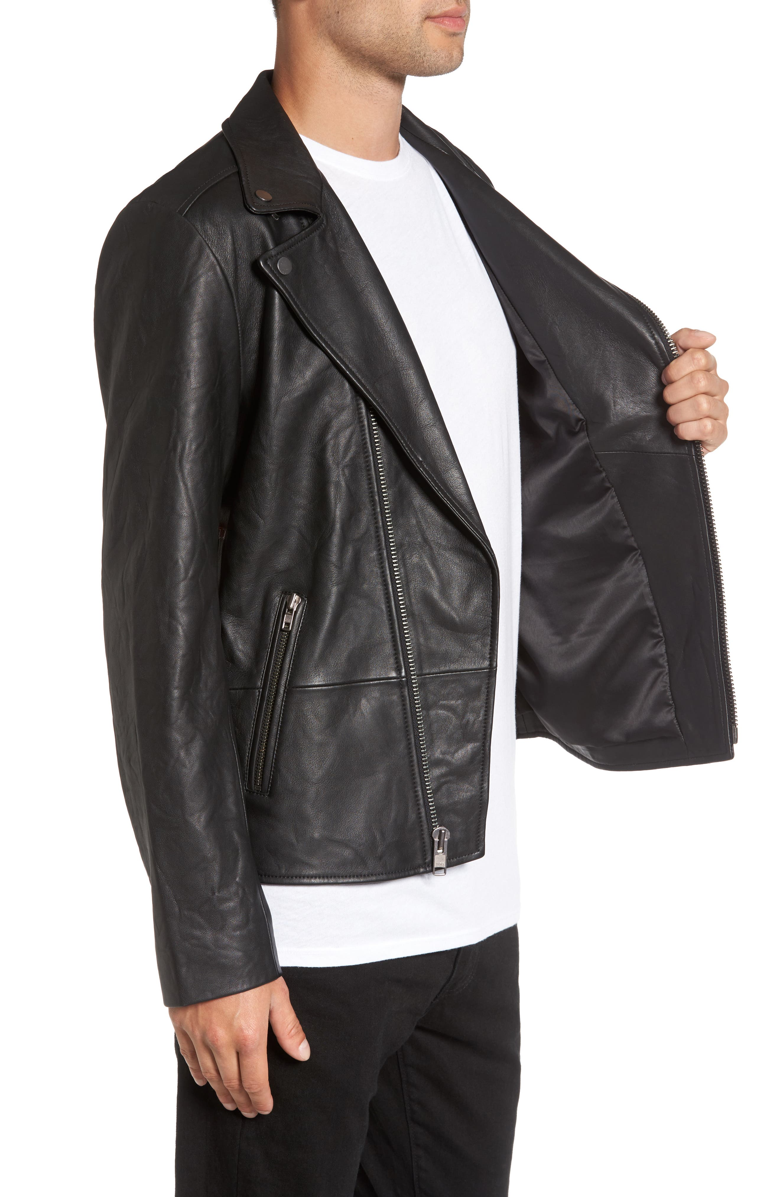 Leather Biker Jacket,                             Alternate thumbnail 3, color,                             001