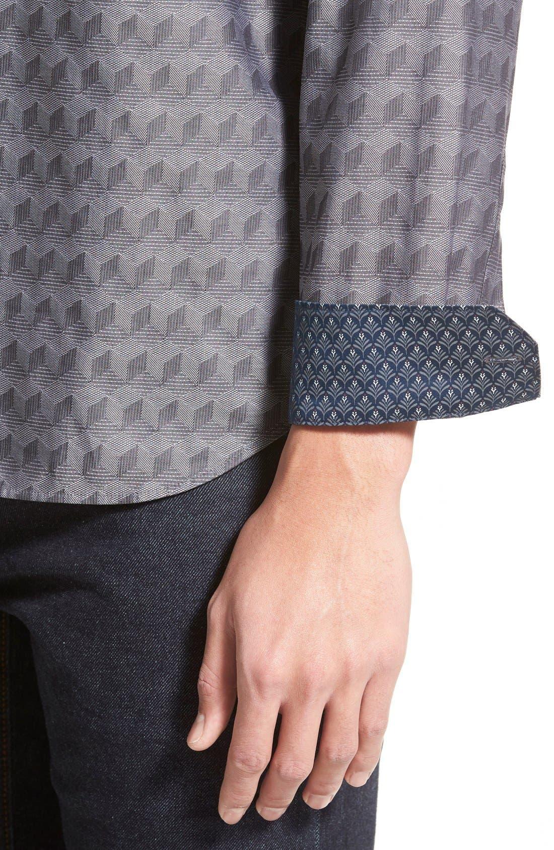 'Chaymo' Modern Slim Fit Geometric Chambray Sport Shirt,                             Alternate thumbnail 2, color,                             001