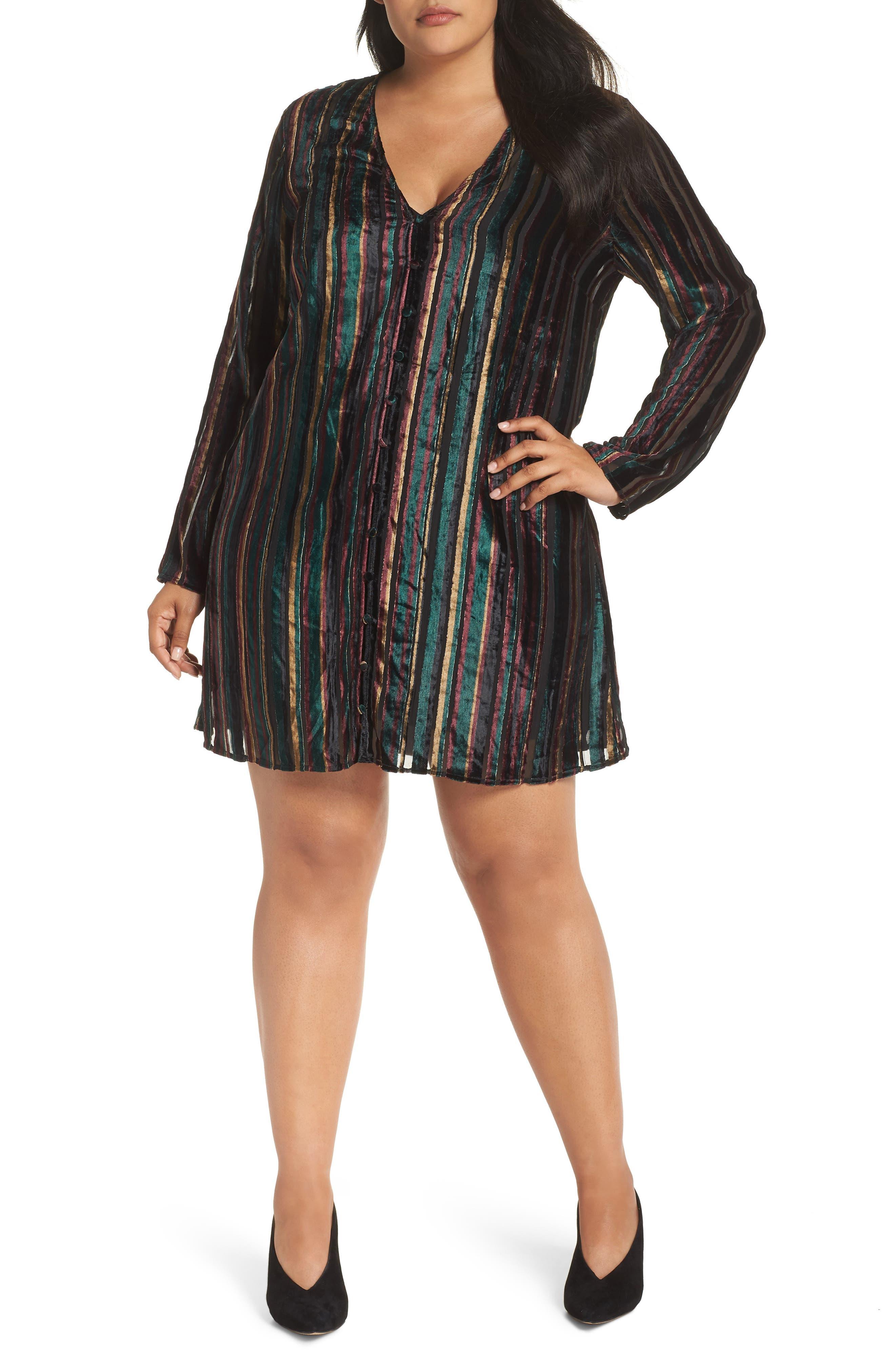 Velvet Burnout Stripe Dress,                             Main thumbnail 1, color,                             BLACK VELVET STRIPE