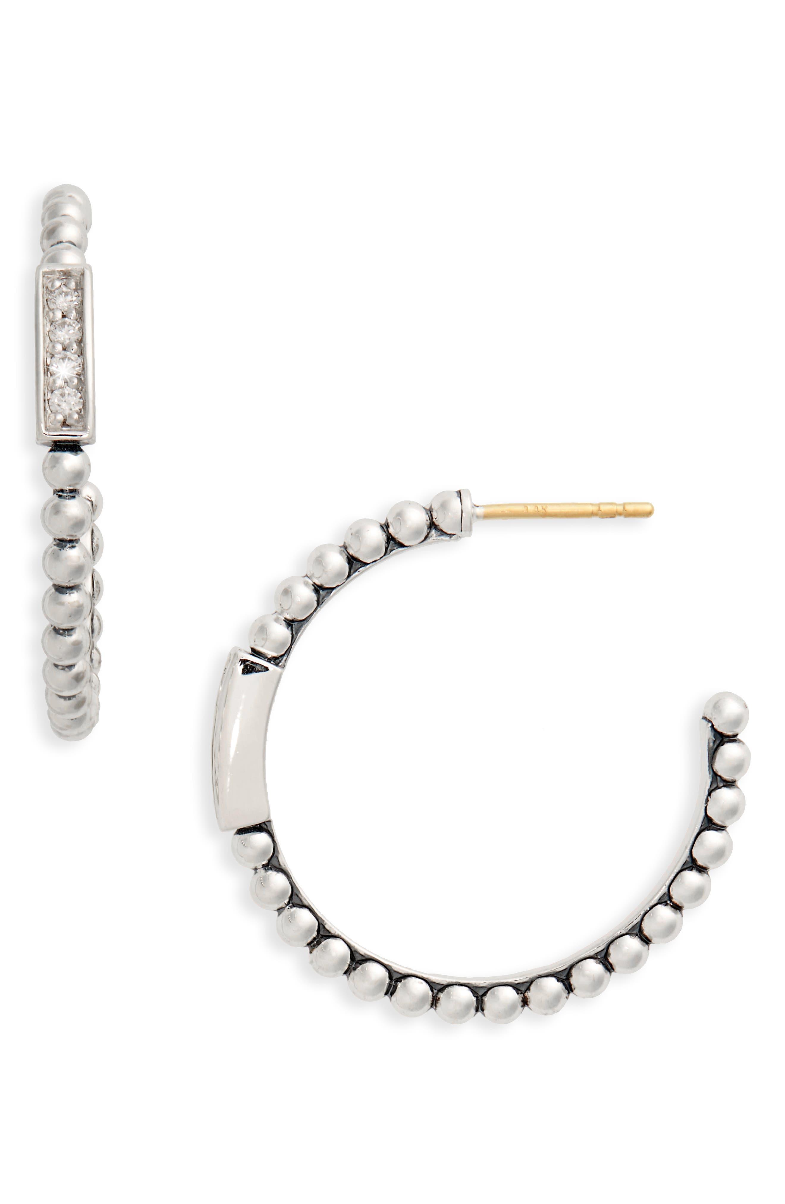 Caviar Spark Diamond Hoop Earrings,                         Main,                         color, SILVER/ DIAMOND