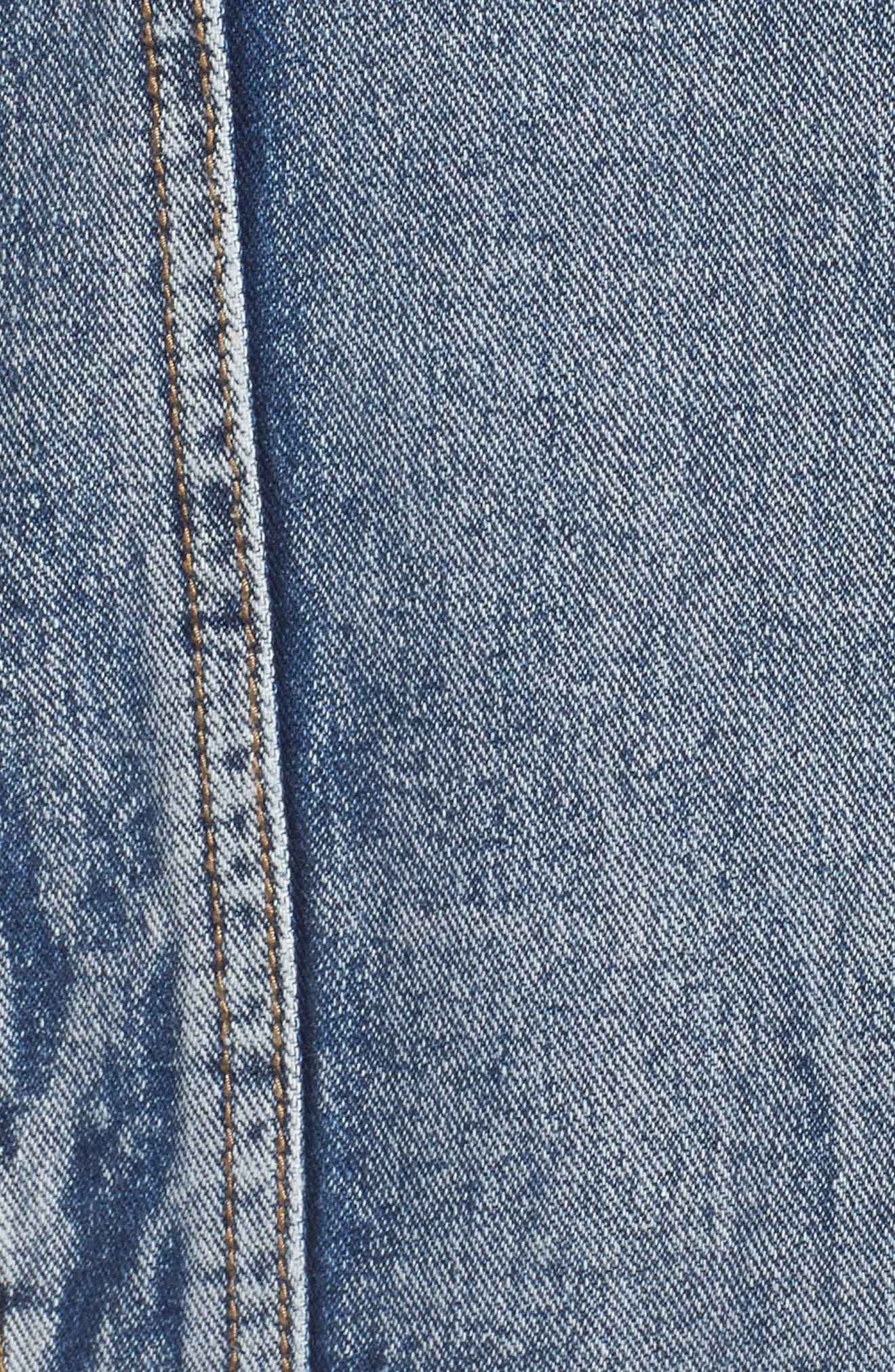 Embellished Distressed Denim Jacket,                             Alternate thumbnail 7, color,                             420