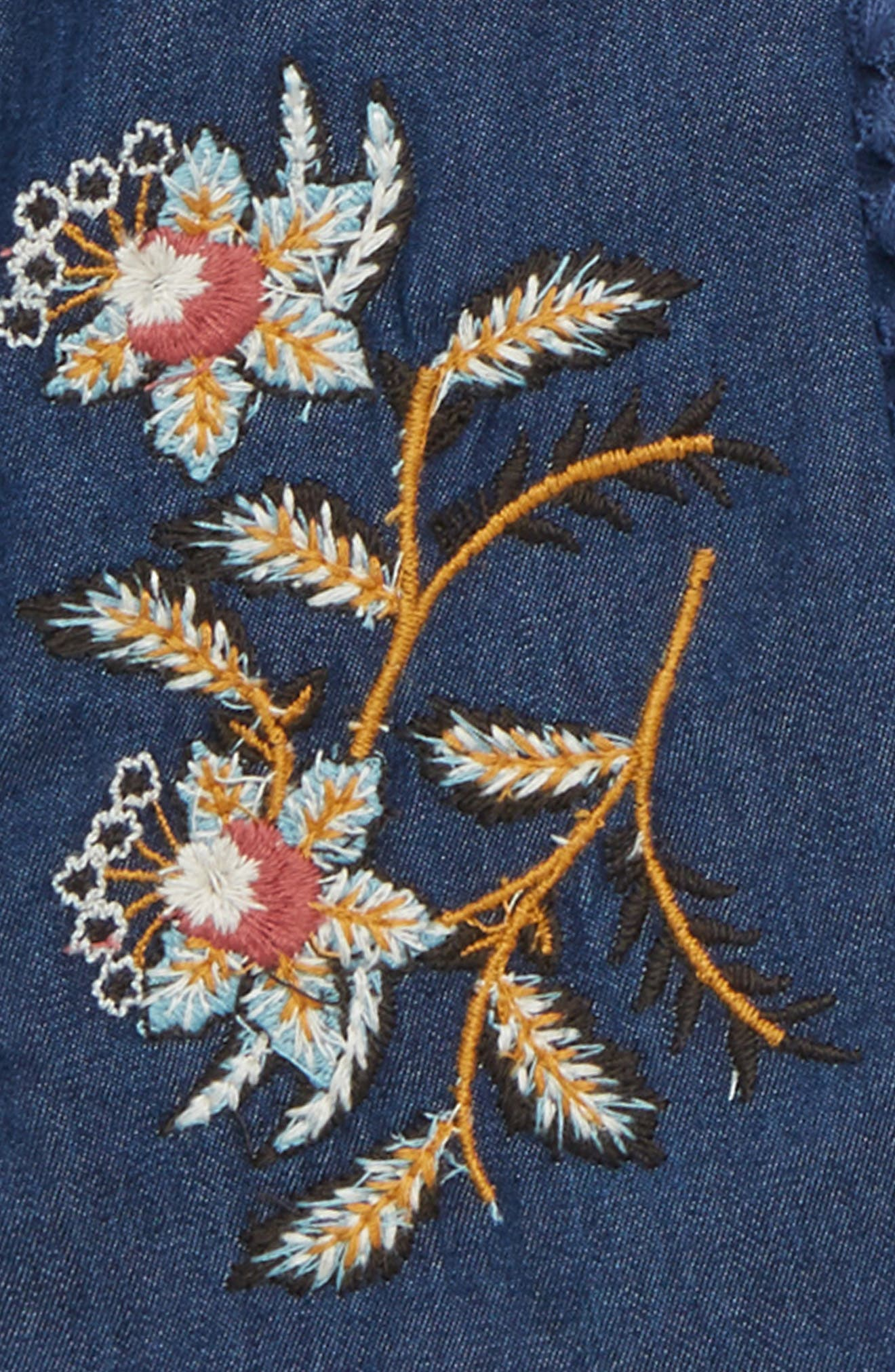 Peek Willow Embroidered Denim Dress,                             Alternate thumbnail 2, color,                             NAVY