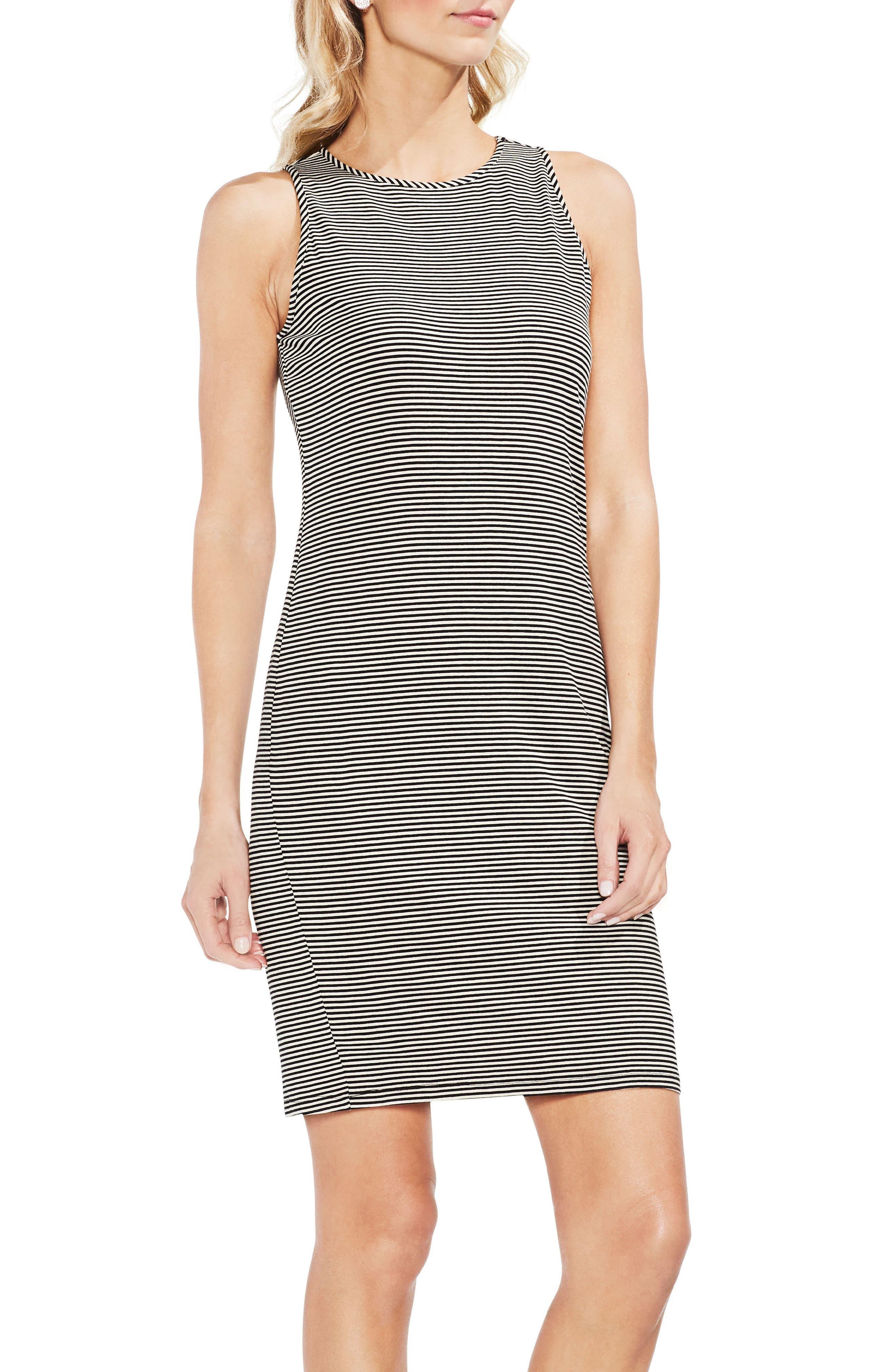 Chantelle Pinstripe Body-Con Dress,                             Main thumbnail 1, color,                             001