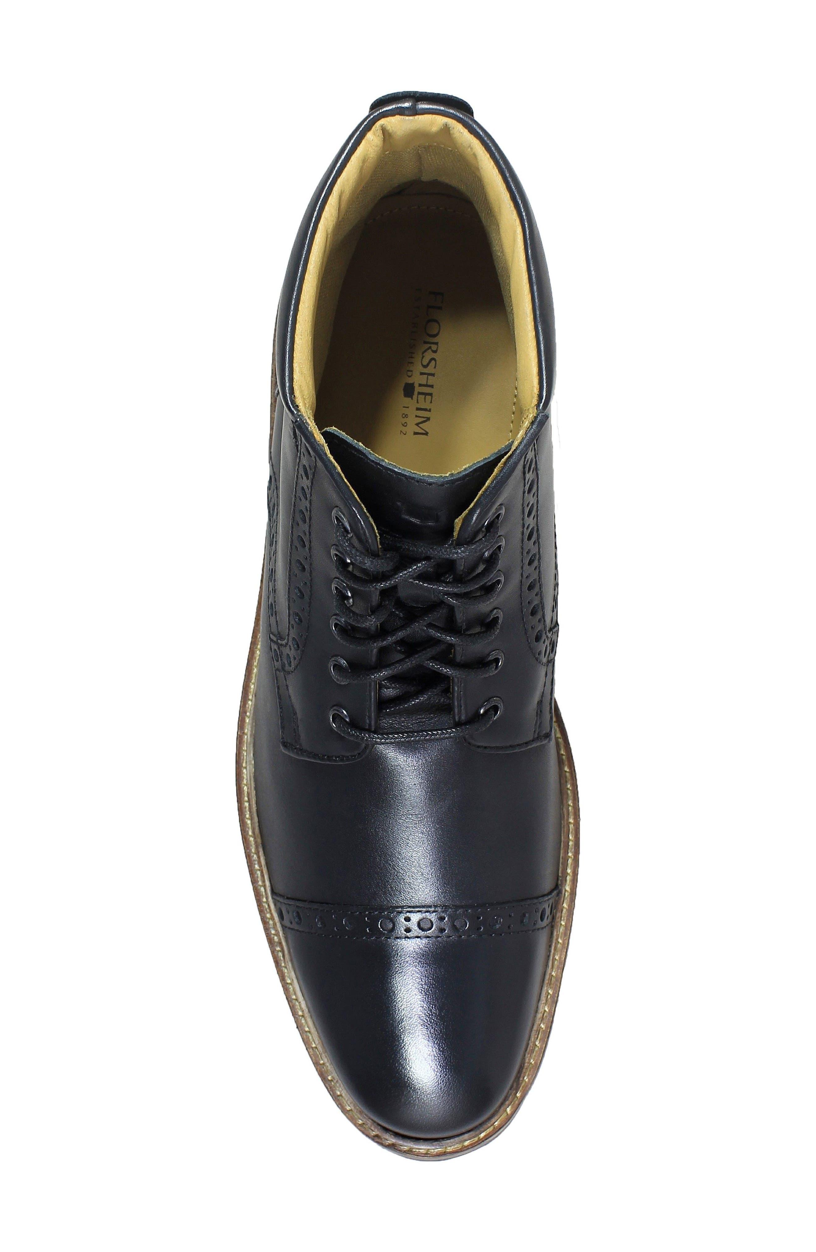 FLORSHEIM,                             Estabrook Cap Toe Boot,                             Alternate thumbnail 5, color,                             BLACK LEATHER