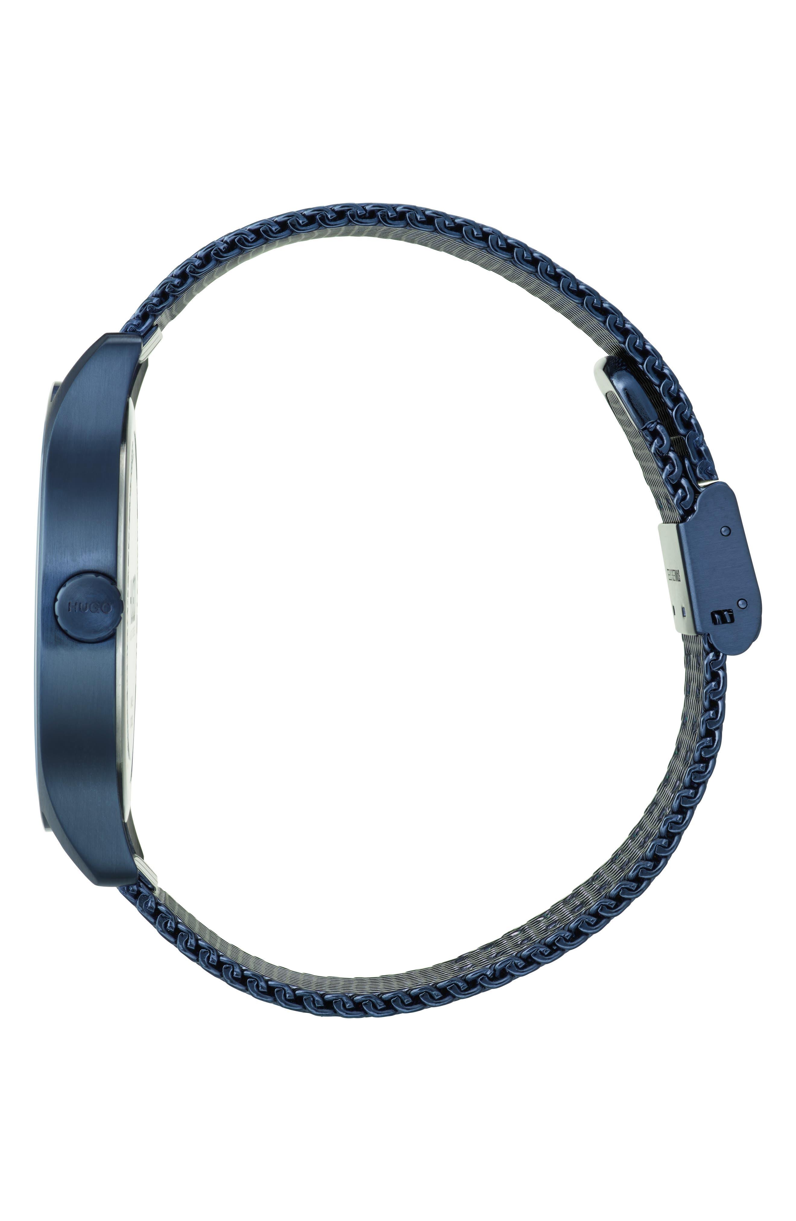 Mesh Bracelet Watch, 42mm,                             Alternate thumbnail 3, color,                             BLUE/SILVER