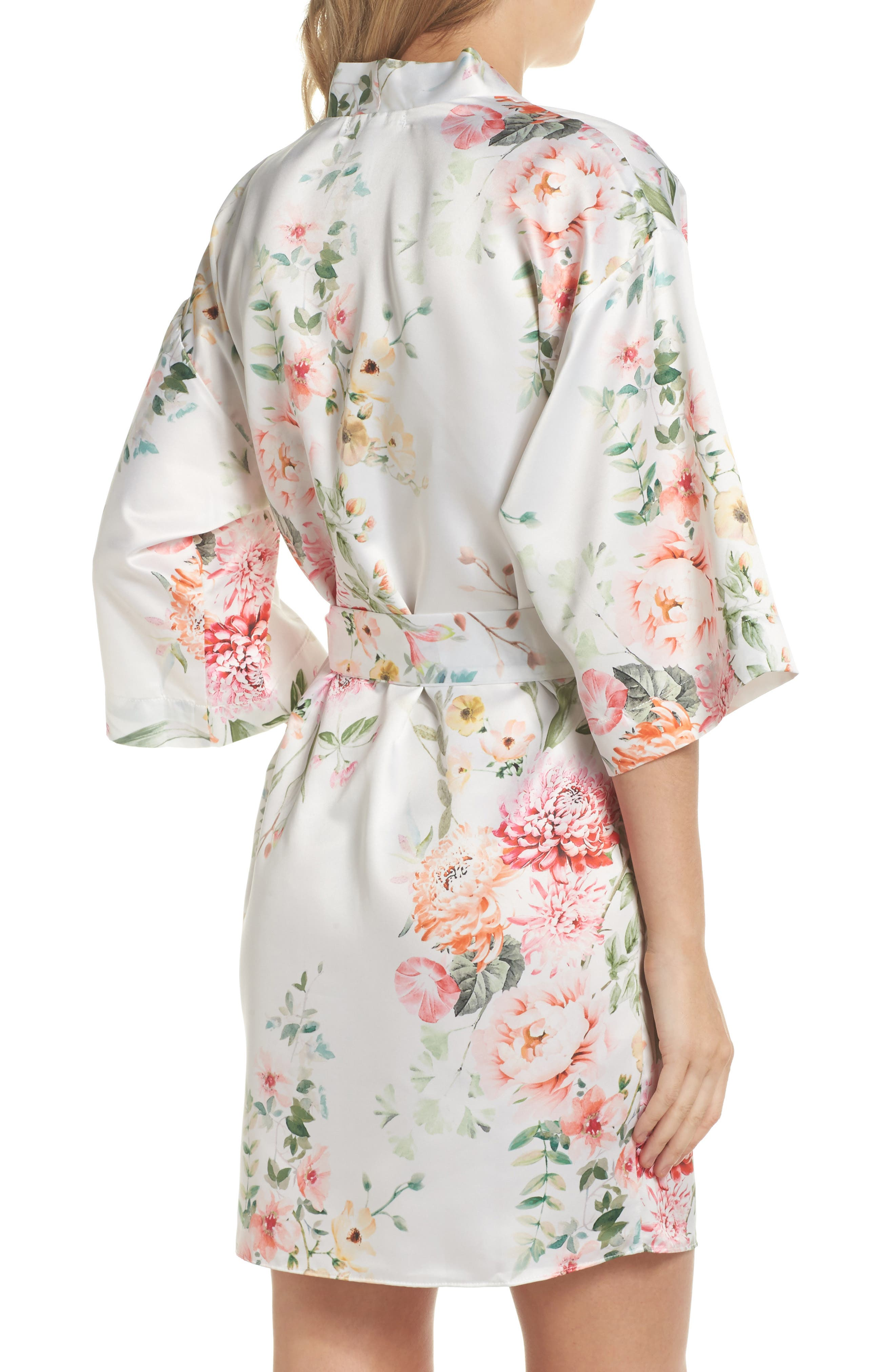 Renata Short Satin Robe,                             Alternate thumbnail 8, color,