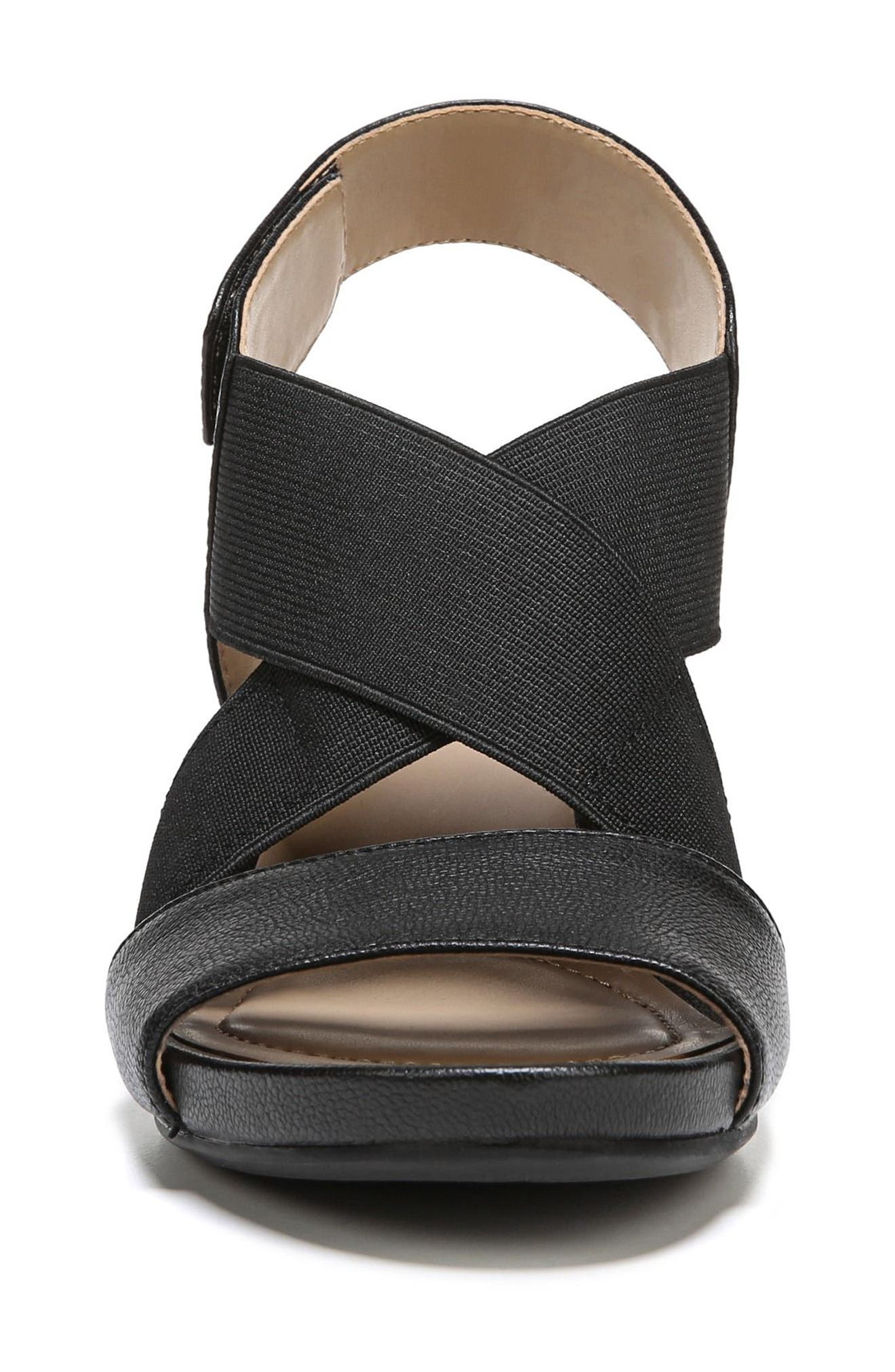 Cleo Wedge Sandal,                             Alternate thumbnail 4, color,                             BLACK LEATHER