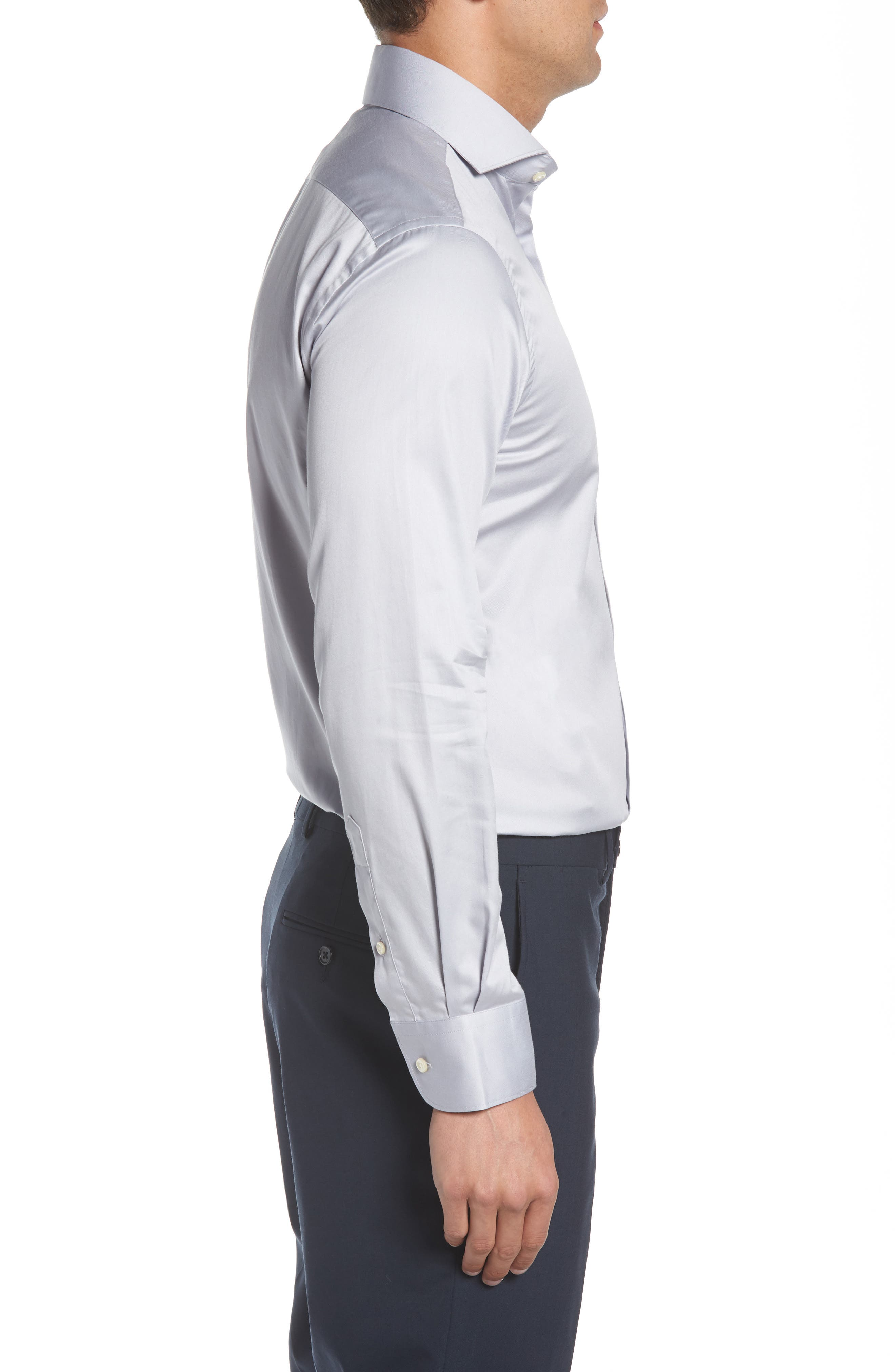 Regular Fit Solid Dress Shirt,                             Alternate thumbnail 4, color,                             020