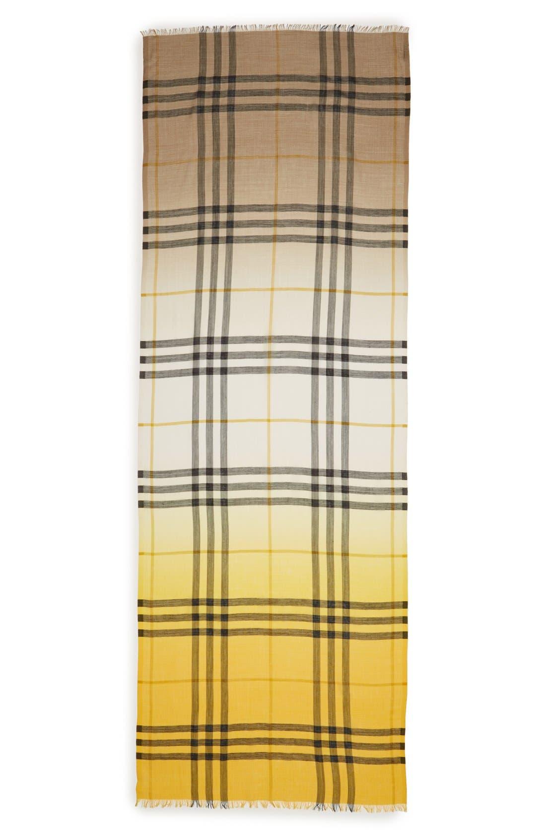 Ombré Check Wool & Silk Scarf,                             Alternate thumbnail 8, color,