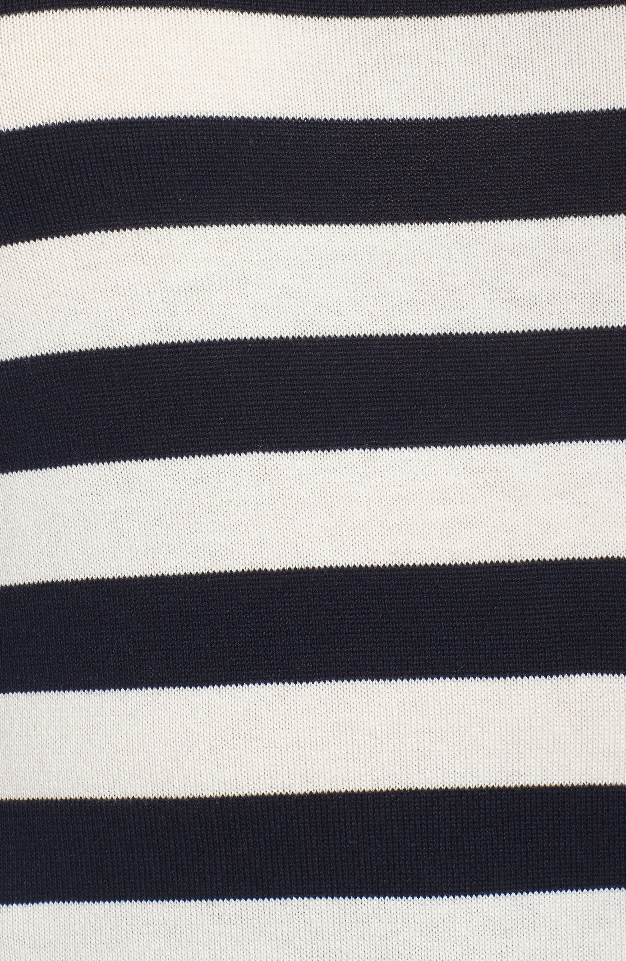 Stripe Blouson Sleeve Sweater,                             Alternate thumbnail 5, color,                             CAVIAR