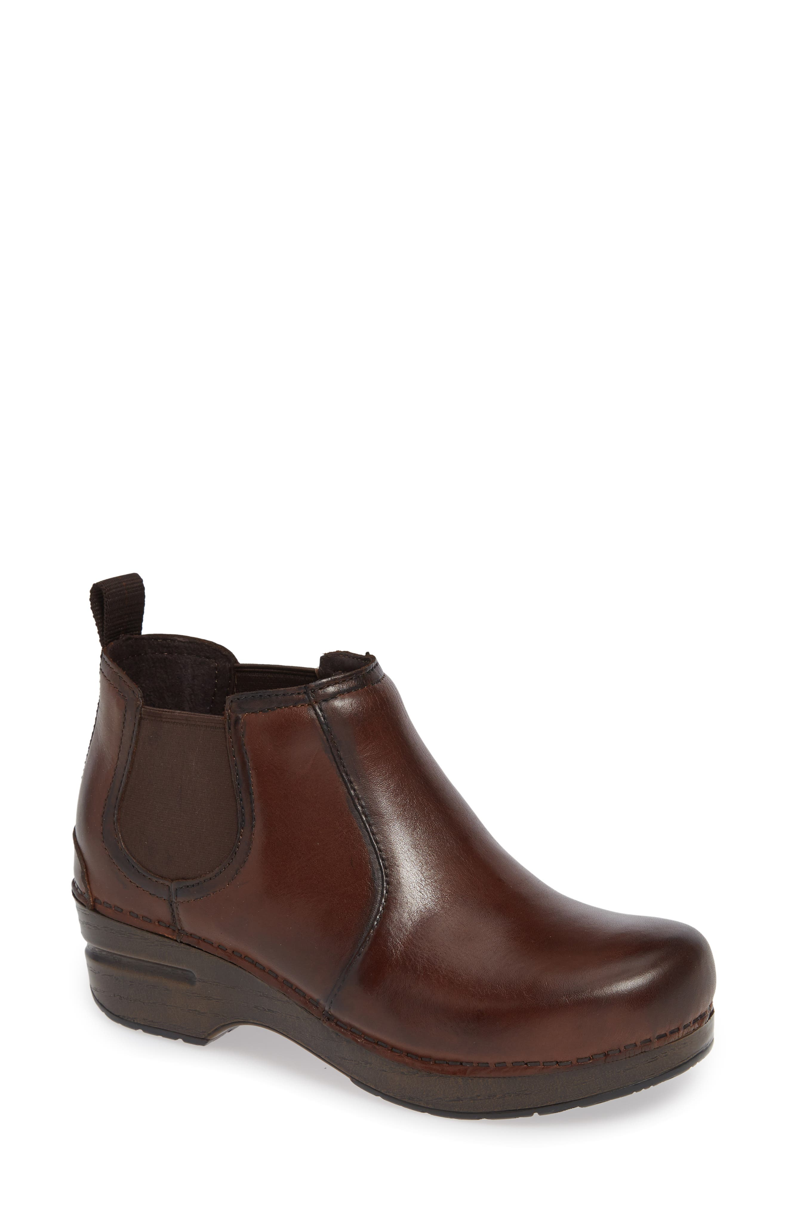 Frankie Bootie,                             Main thumbnail 1, color,                             BROWN LEATHER