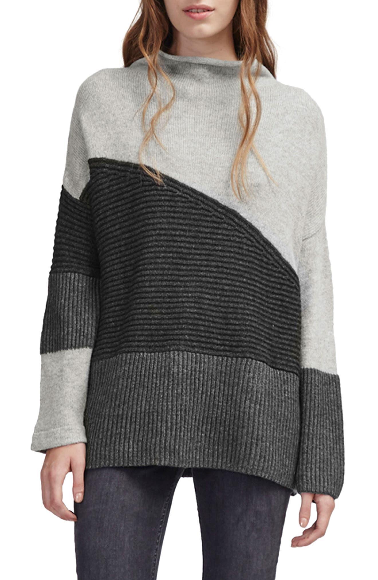 Patchwork Mock Neck Sweater,                         Main,                         color, GREY MELANGE MULTI