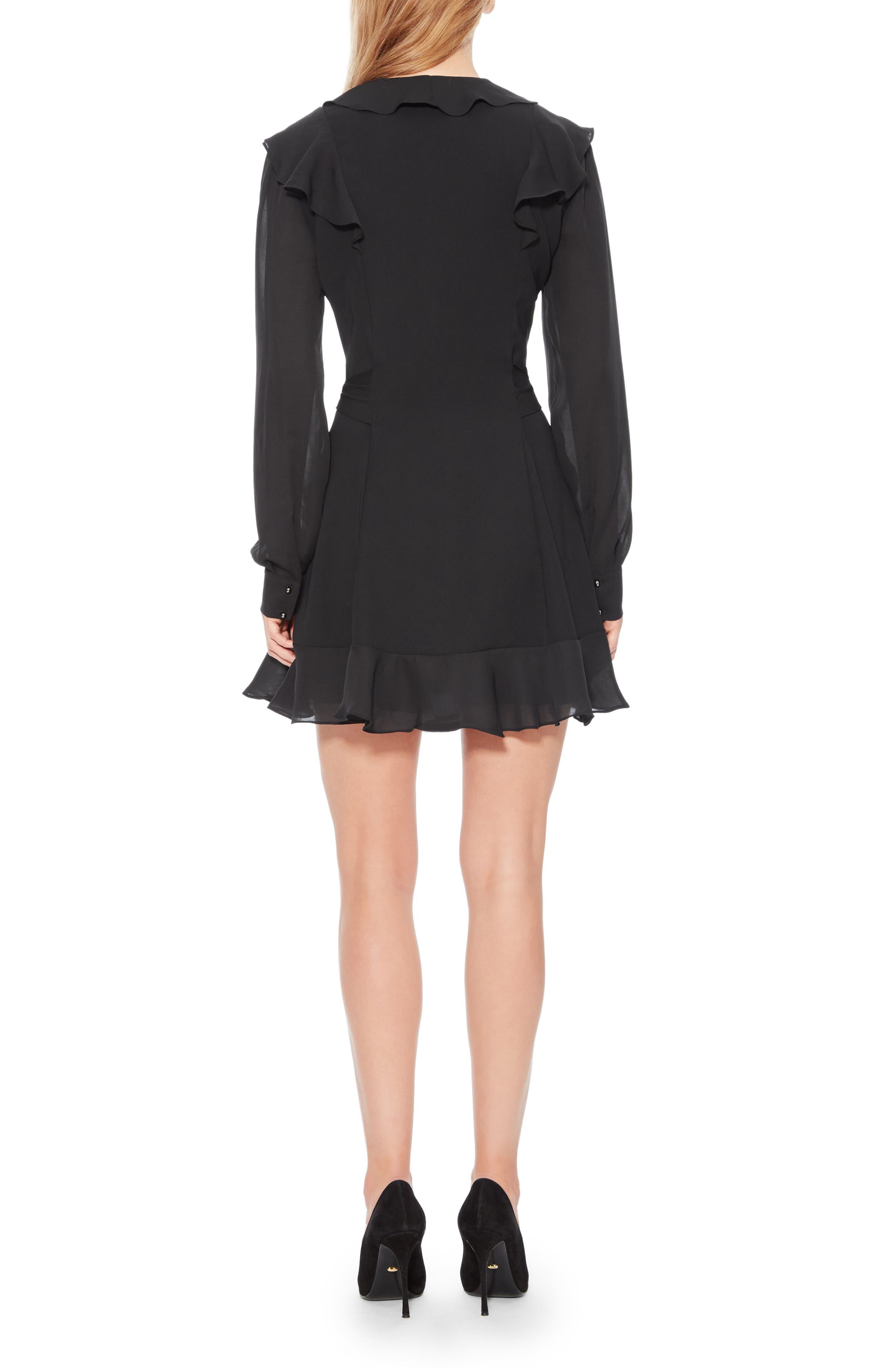 Pauline Tie Waist Dress,                             Alternate thumbnail 2, color,                             BLACK