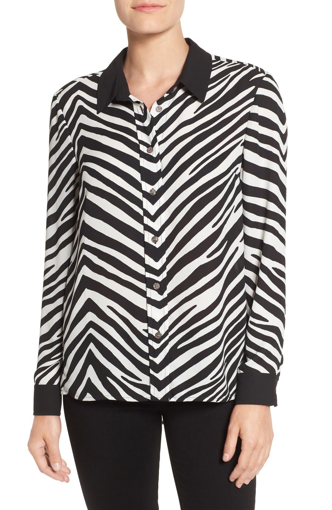 Zebra Stripe Long Sleeve Blouse,                             Main thumbnail 1, color,                             006