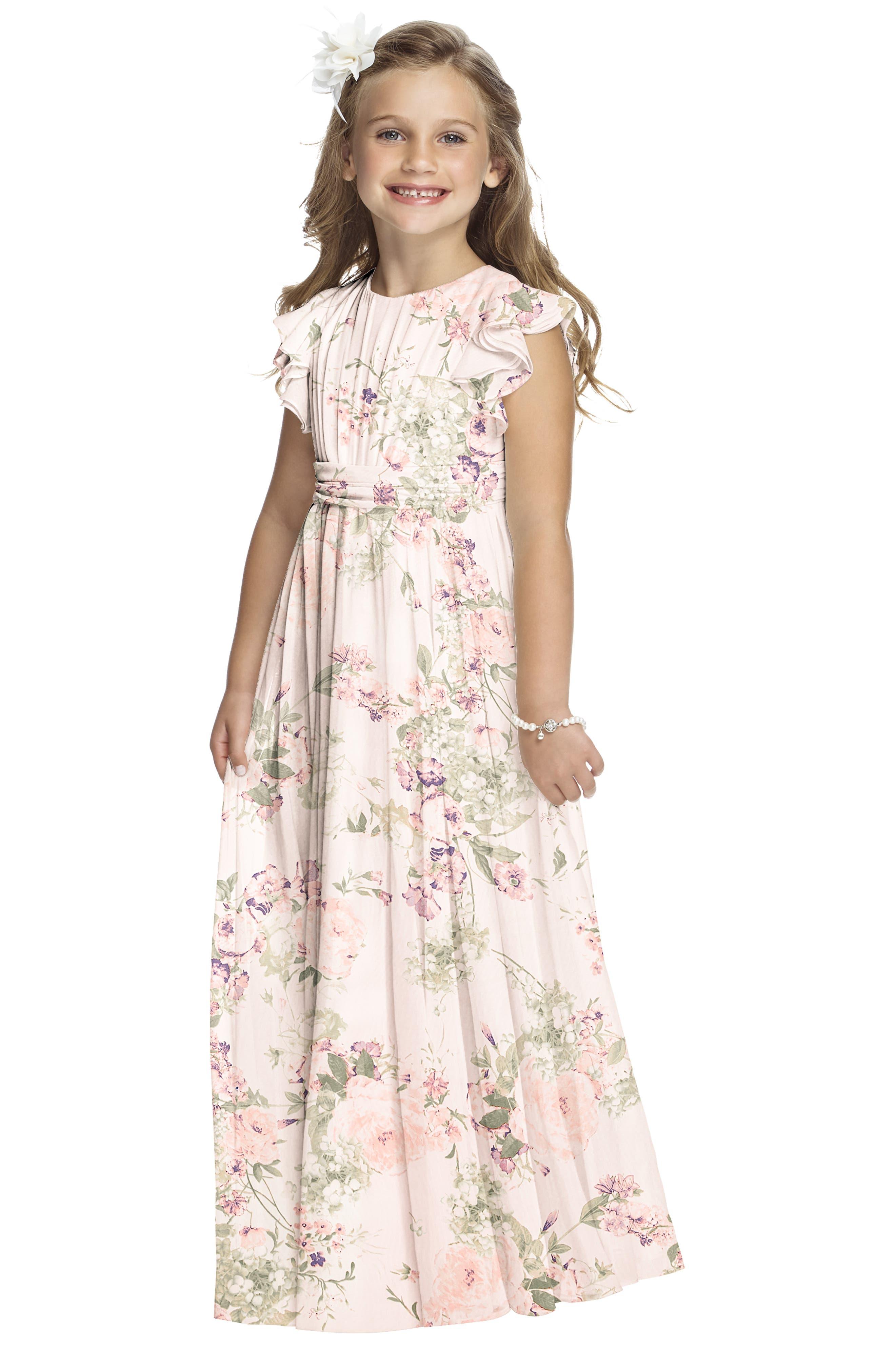Flutter Sleeve Long Chiffon Flower Girl Dress,                             Alternate thumbnail 4, color,                             956