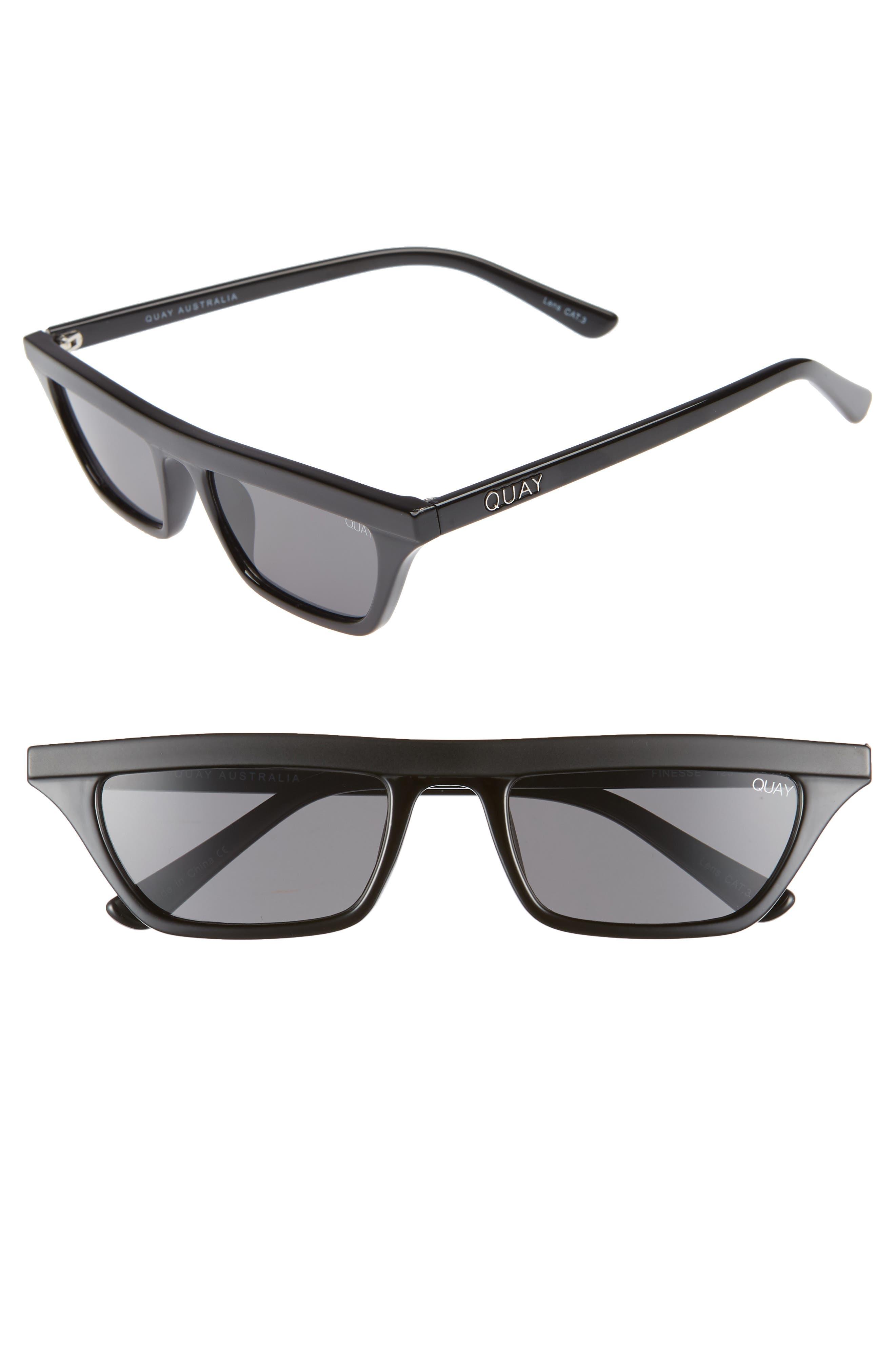 Finesse 52mm Sunglasses,                             Main thumbnail 1, color,                             BLACK/ SMOKE