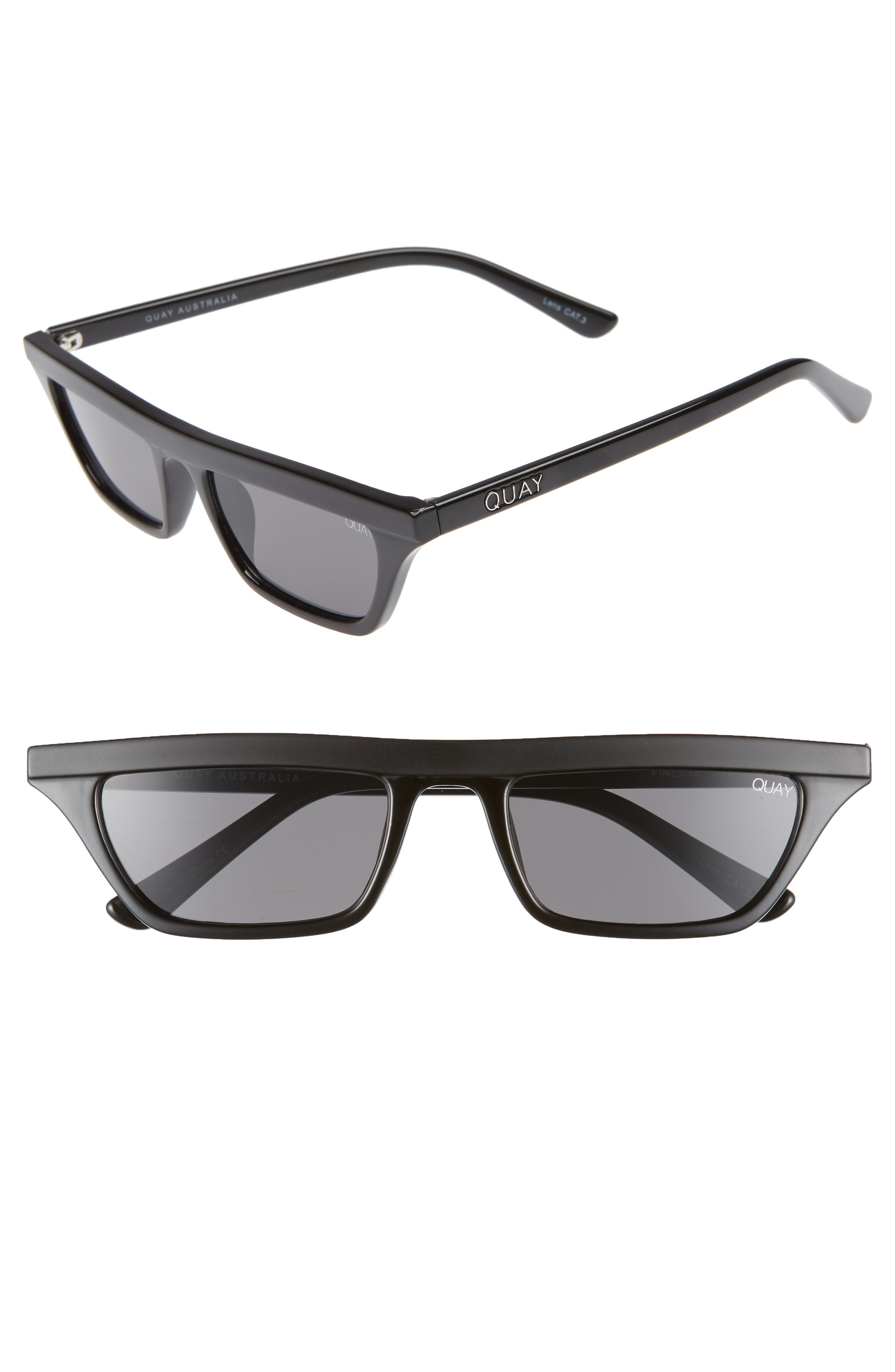 Finesse 52mm Sunglasses,                         Main,                         color, BLACK/ SMOKE