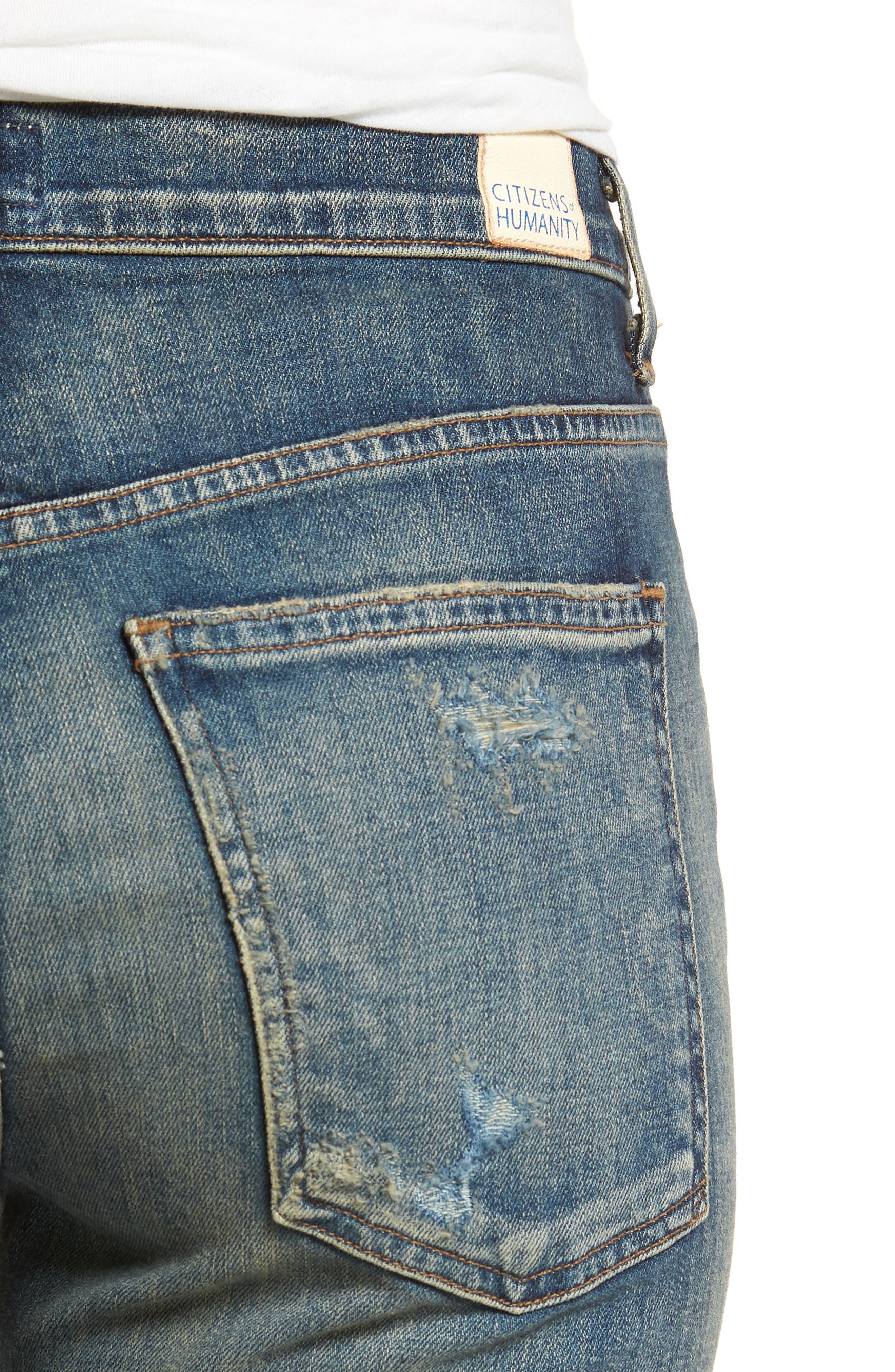 Drew Crop Flare Jeans,                             Alternate thumbnail 4, color,                             422