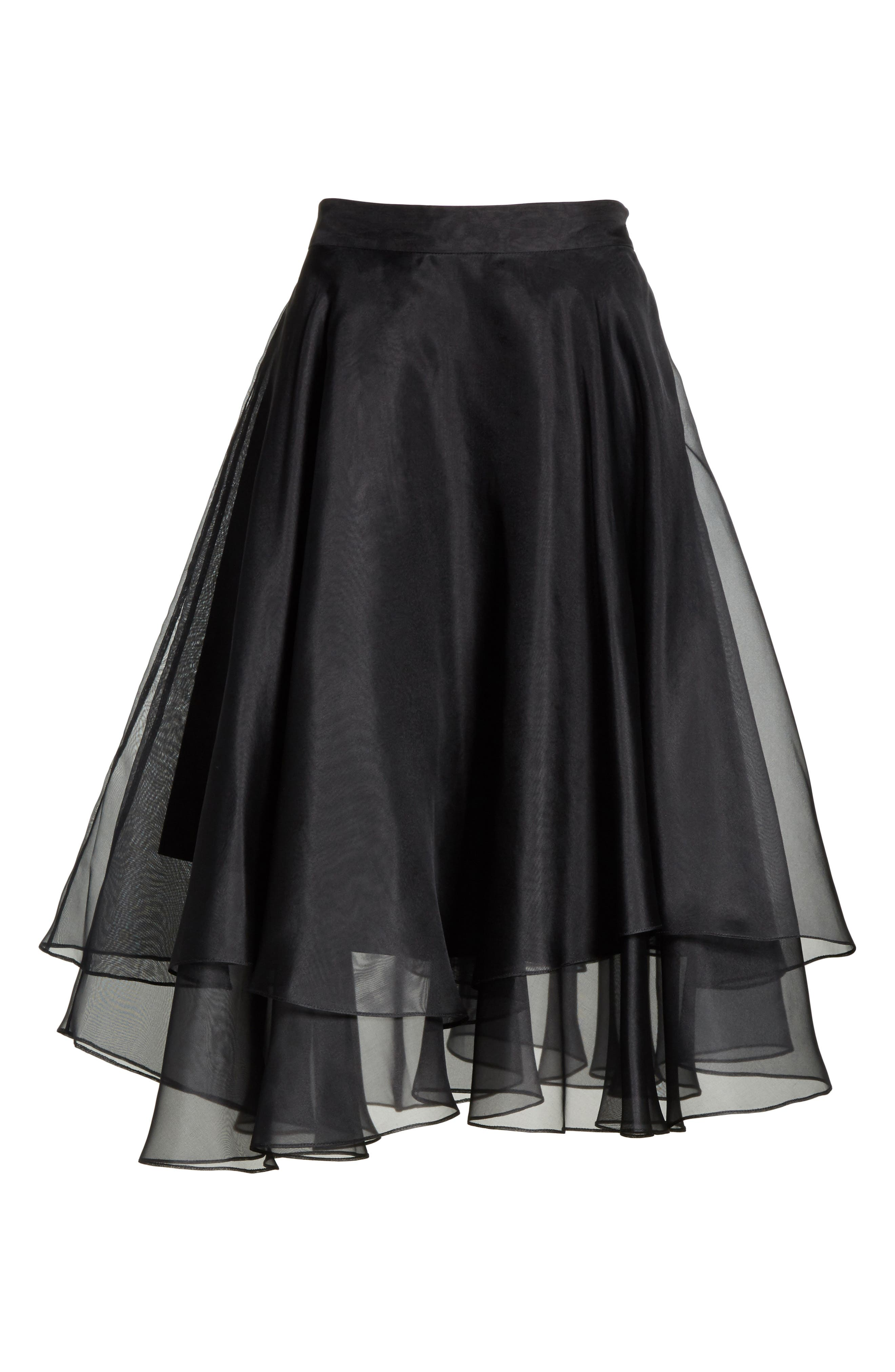 Layered Organza A-Line Skirt,                             Alternate thumbnail 6, color,                             001