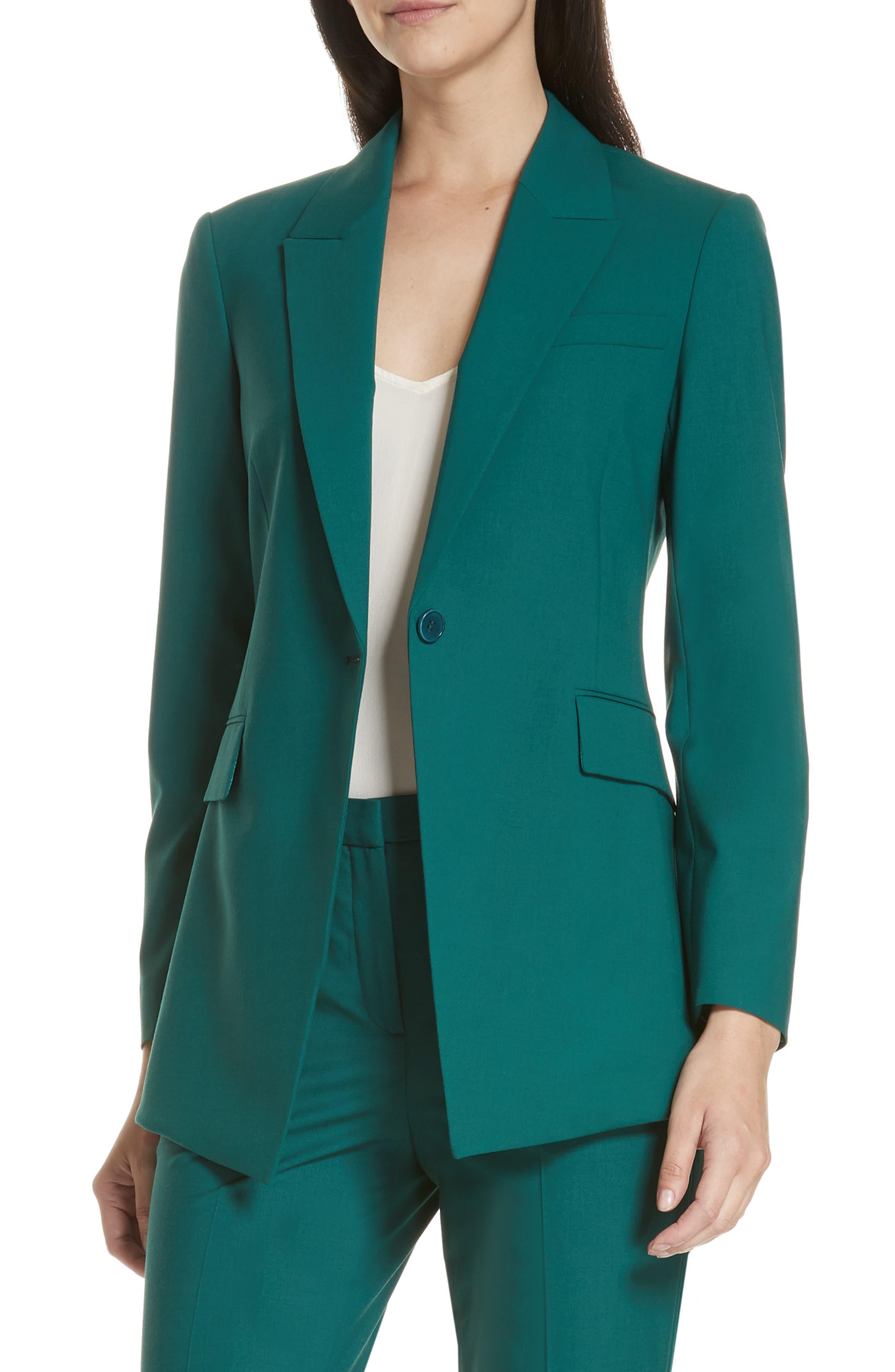 Etienette B Good Wool Suit Jacket,                         Main,                         color, BRIGHT POPLAR