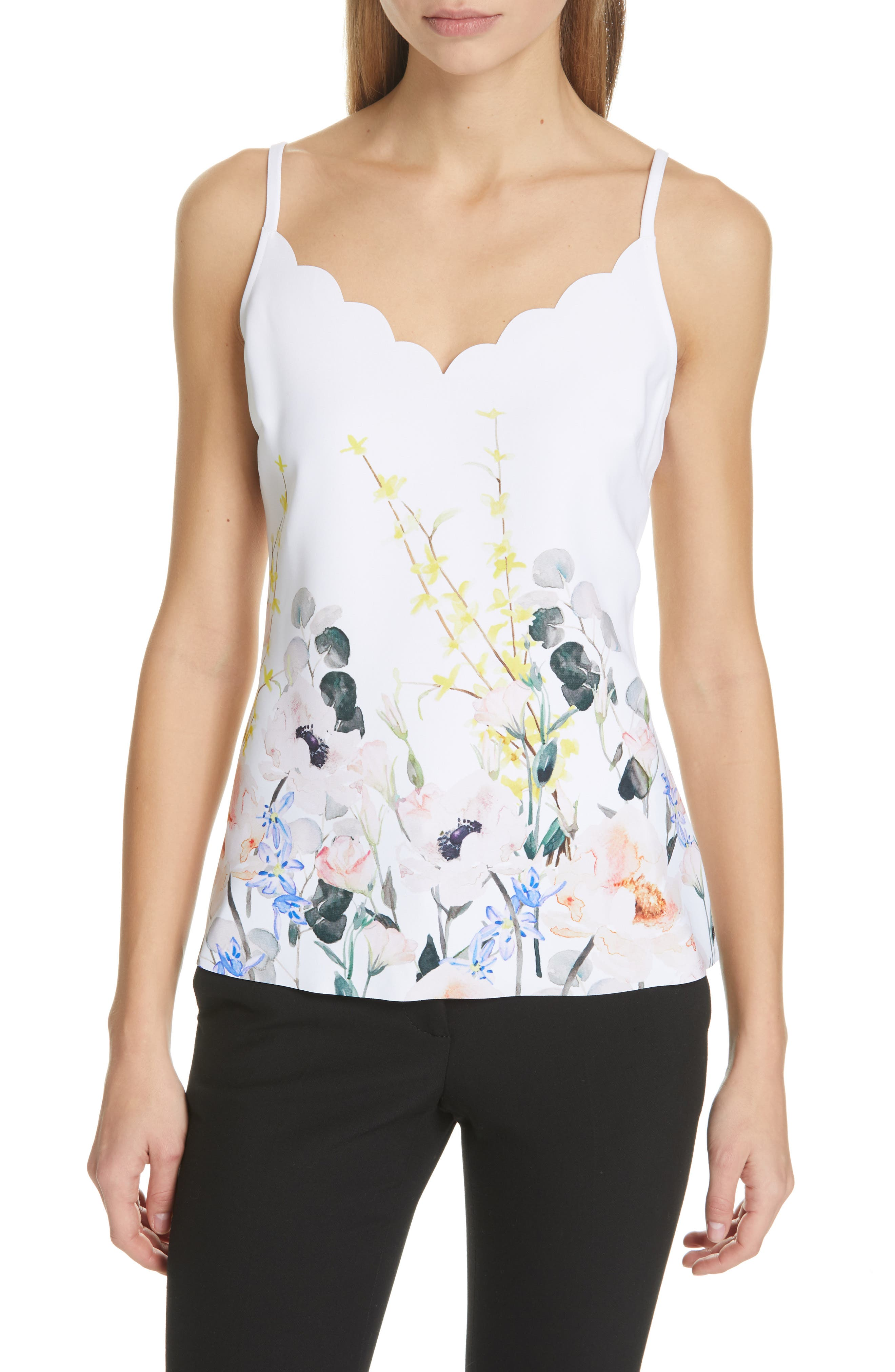 Ziina Elegance Scallop Camisole,                             Main thumbnail 1, color,                             WHITE