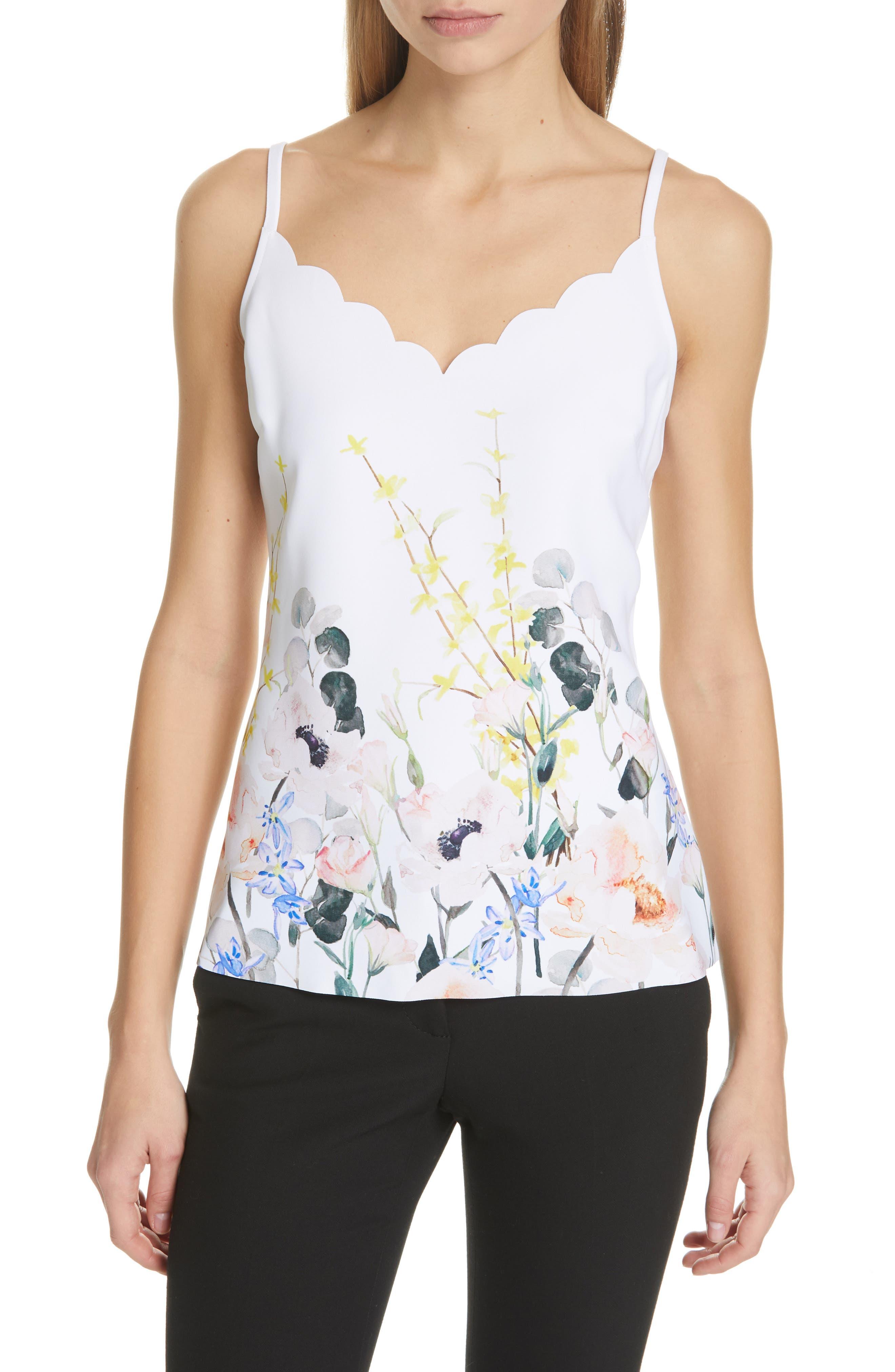 Ziina Elegance Scallop Camisole, Main, color, WHITE