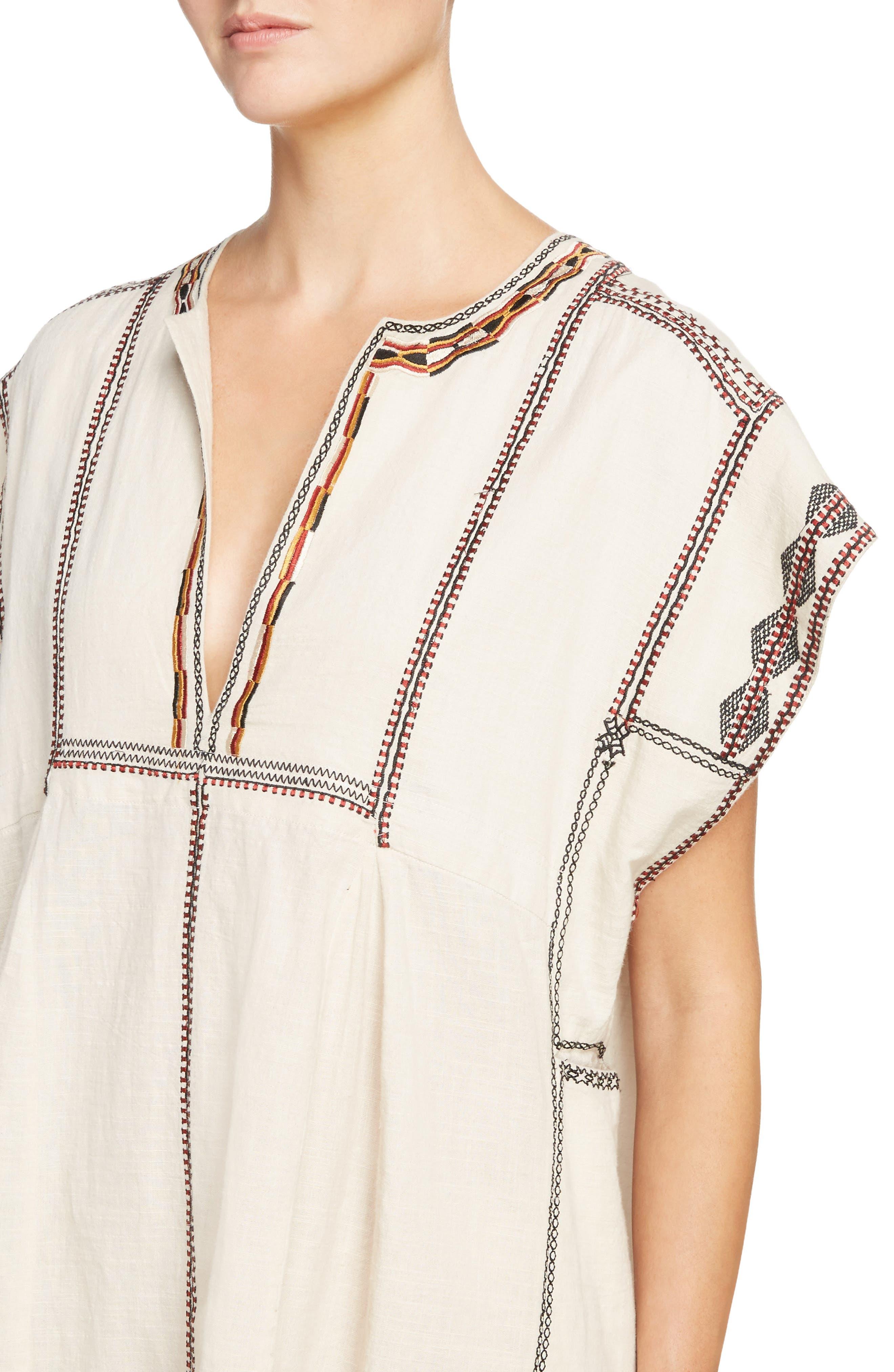 Belissa Embroidered Shift Dress,                             Alternate thumbnail 4, color,                             250