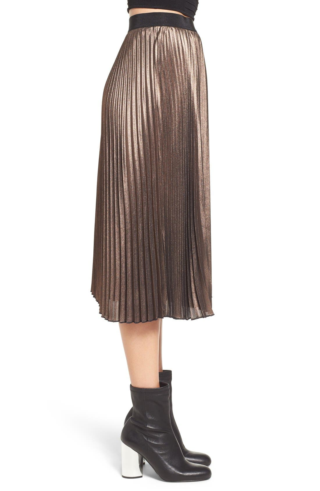 Metallic Pleated Midi Skirt,                             Alternate thumbnail 3, color,                             220